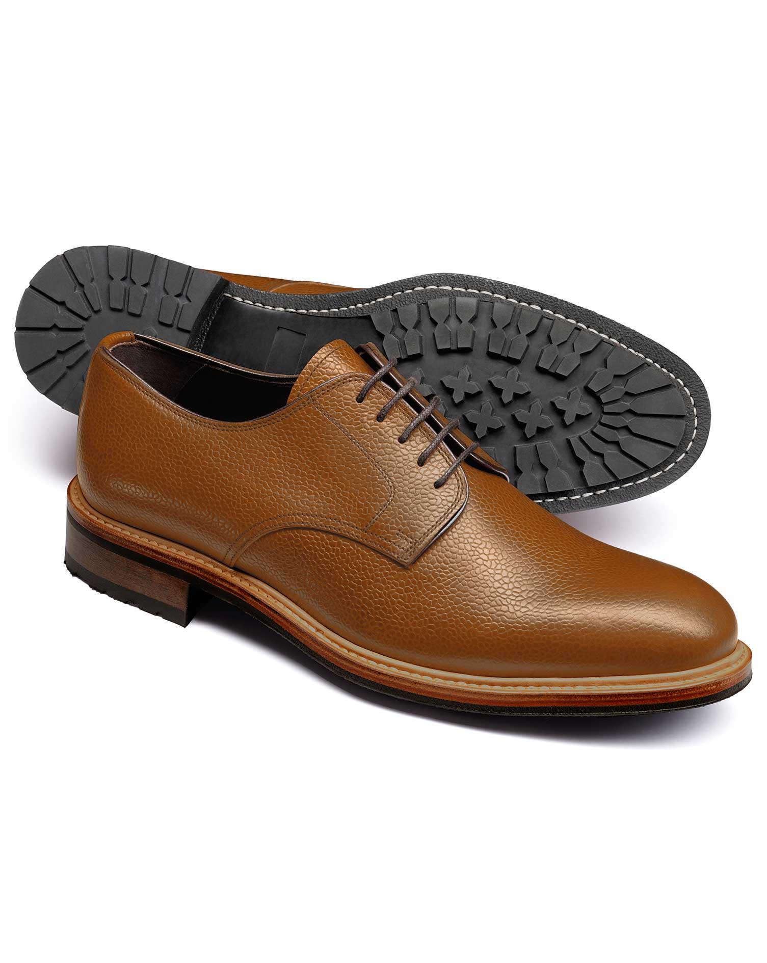 Tan Otterham Derby Shoes Size 9.5 R by Charles Tyrwhitt