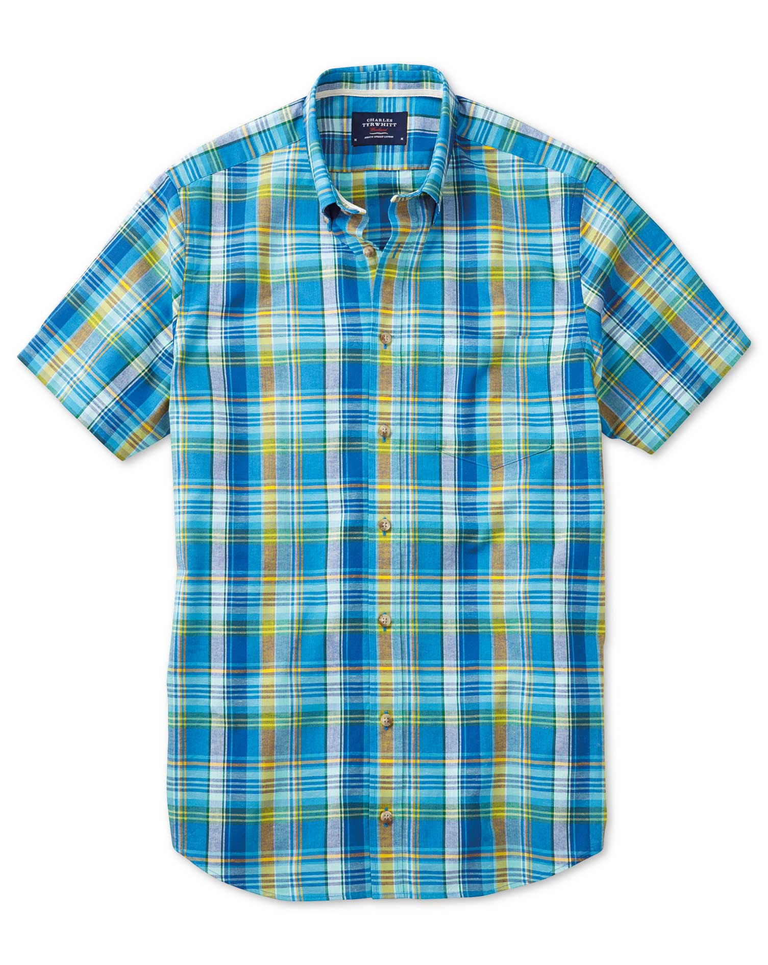 Slim Fit Short Sleeve Green and Blue Check Cotton Shirt Single Cuff Size Medium by Charles Tyrwhitt