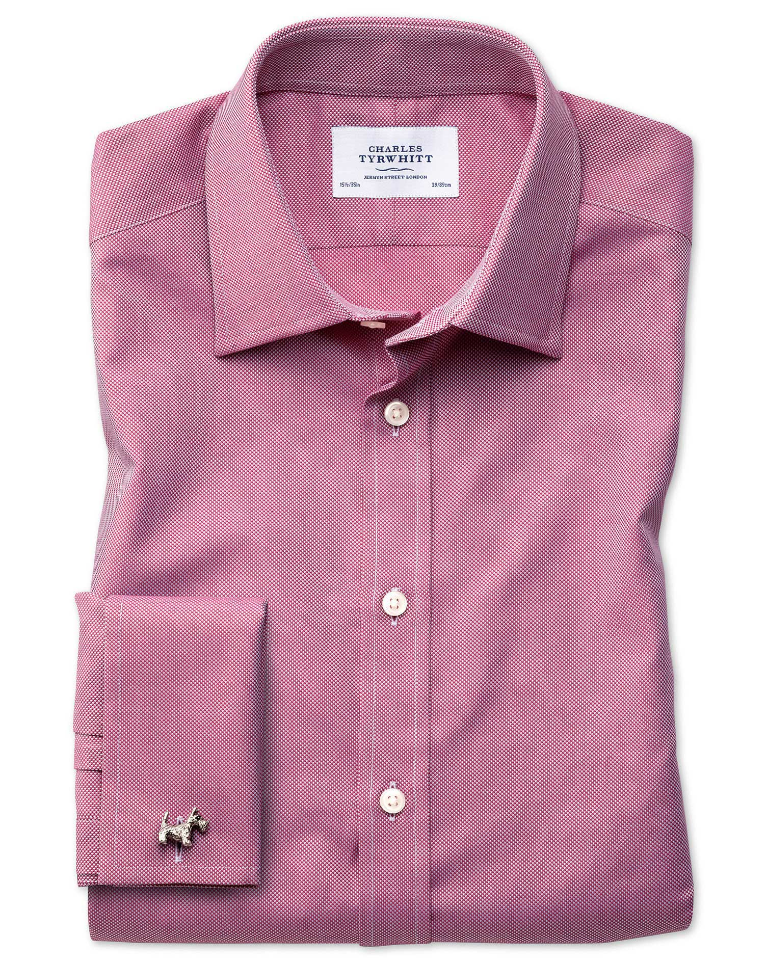 Slim Fit Egyptian Cotton Royal Oxford Magenta Formal Shirt Single Cuff Size 16/33 by Charles Tyrwhit