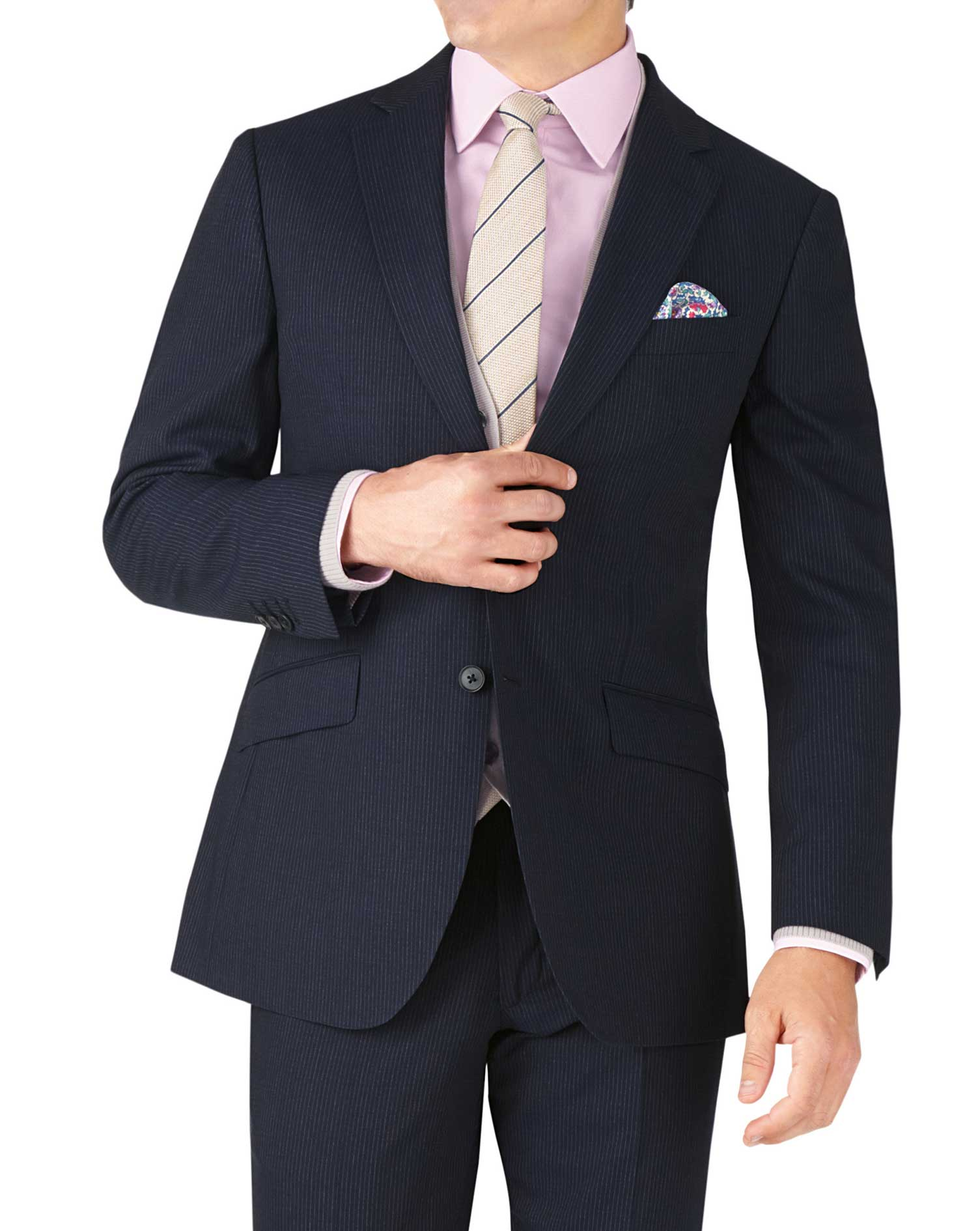 Navy Stripe Slim Fit Crepe Business Suit Wool Jacket Size 42 Long by Charles Tyrwhitt