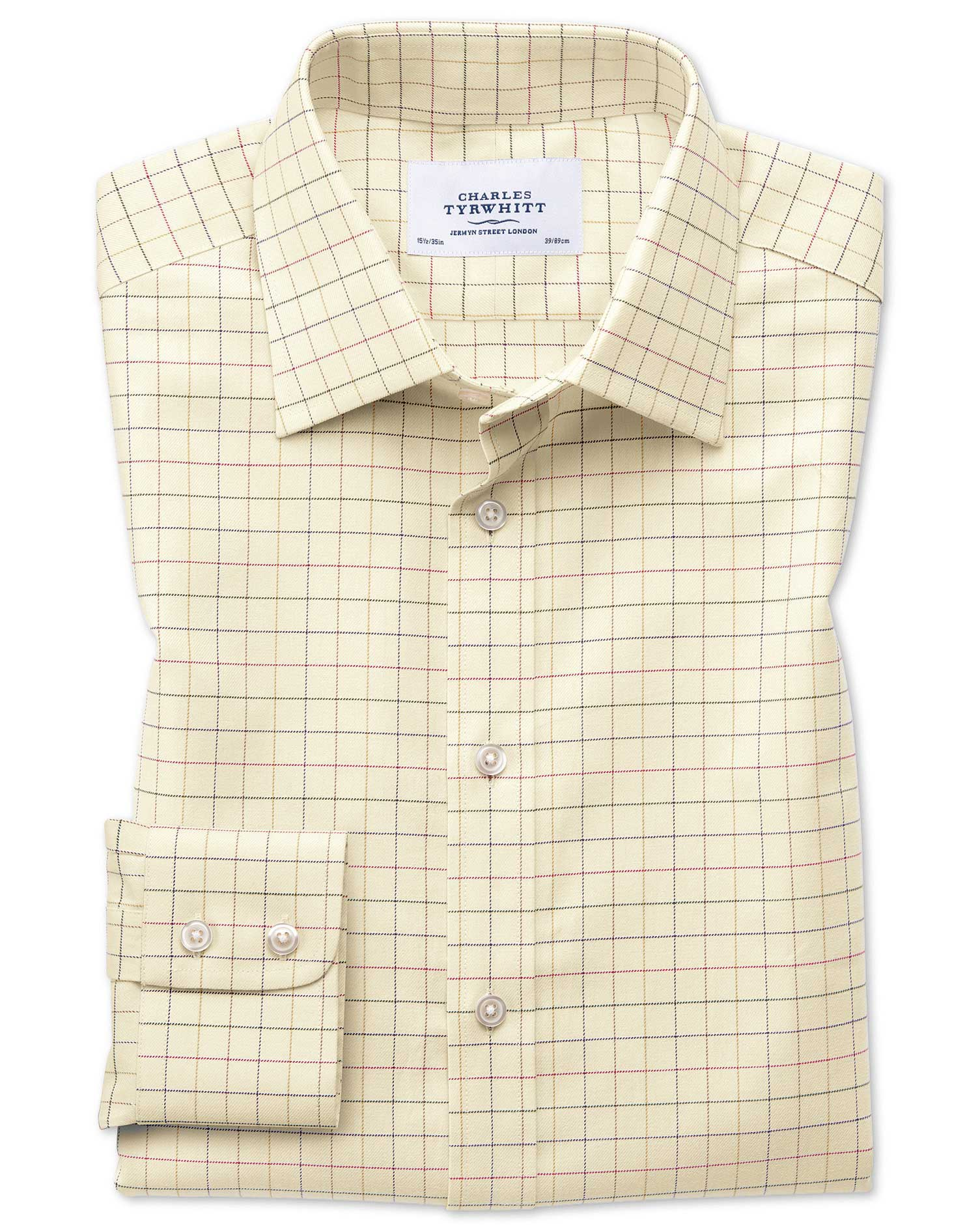Classic Fit Country Check Multi Cotton Formal Shirt Single Cuff Size 17.5/34 by Charles Tyrwhitt