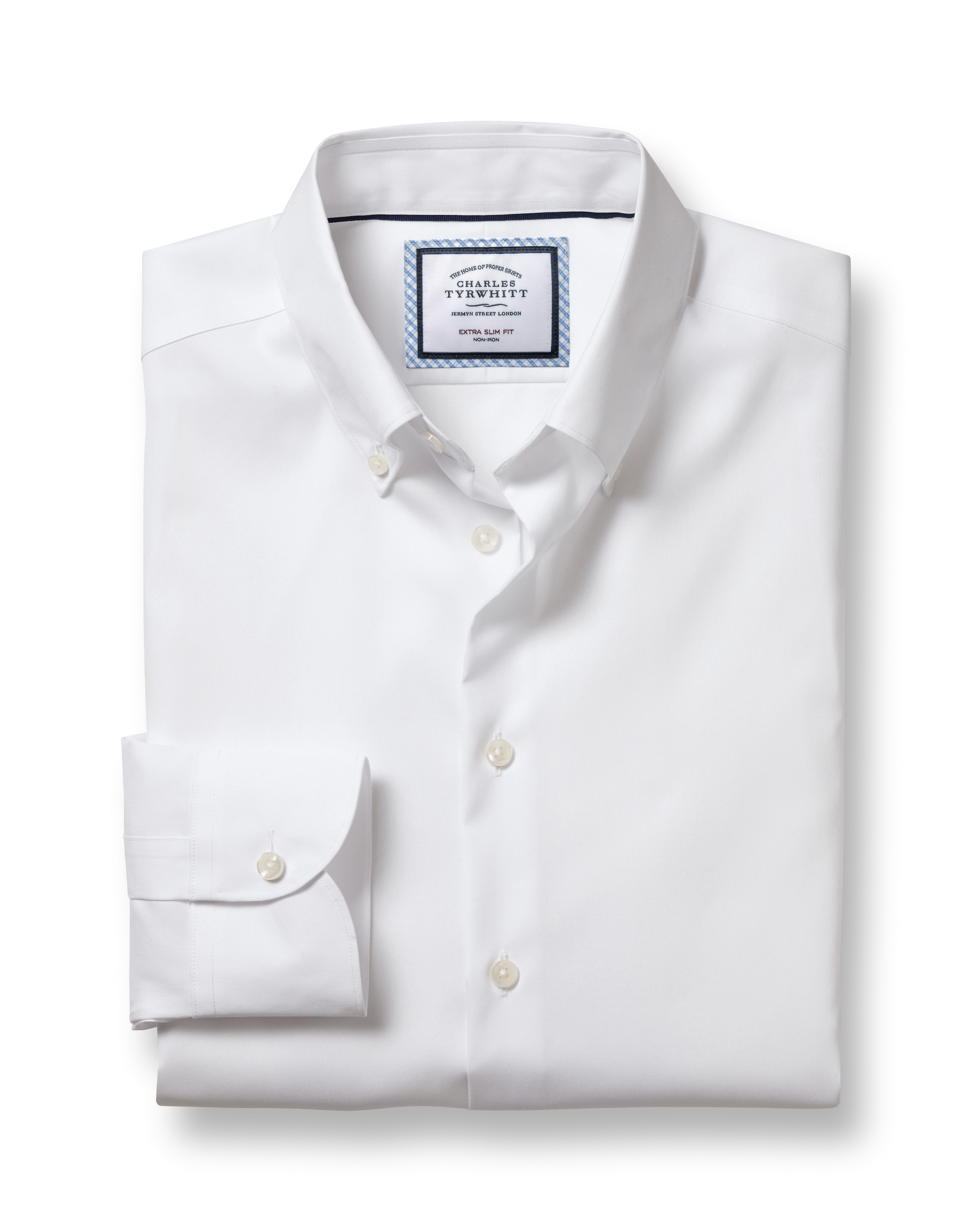 Extra Slim Fit Button-Down Business Casual Non-Iron White Cotton Formal Shirt Single Cuff Size 17/34