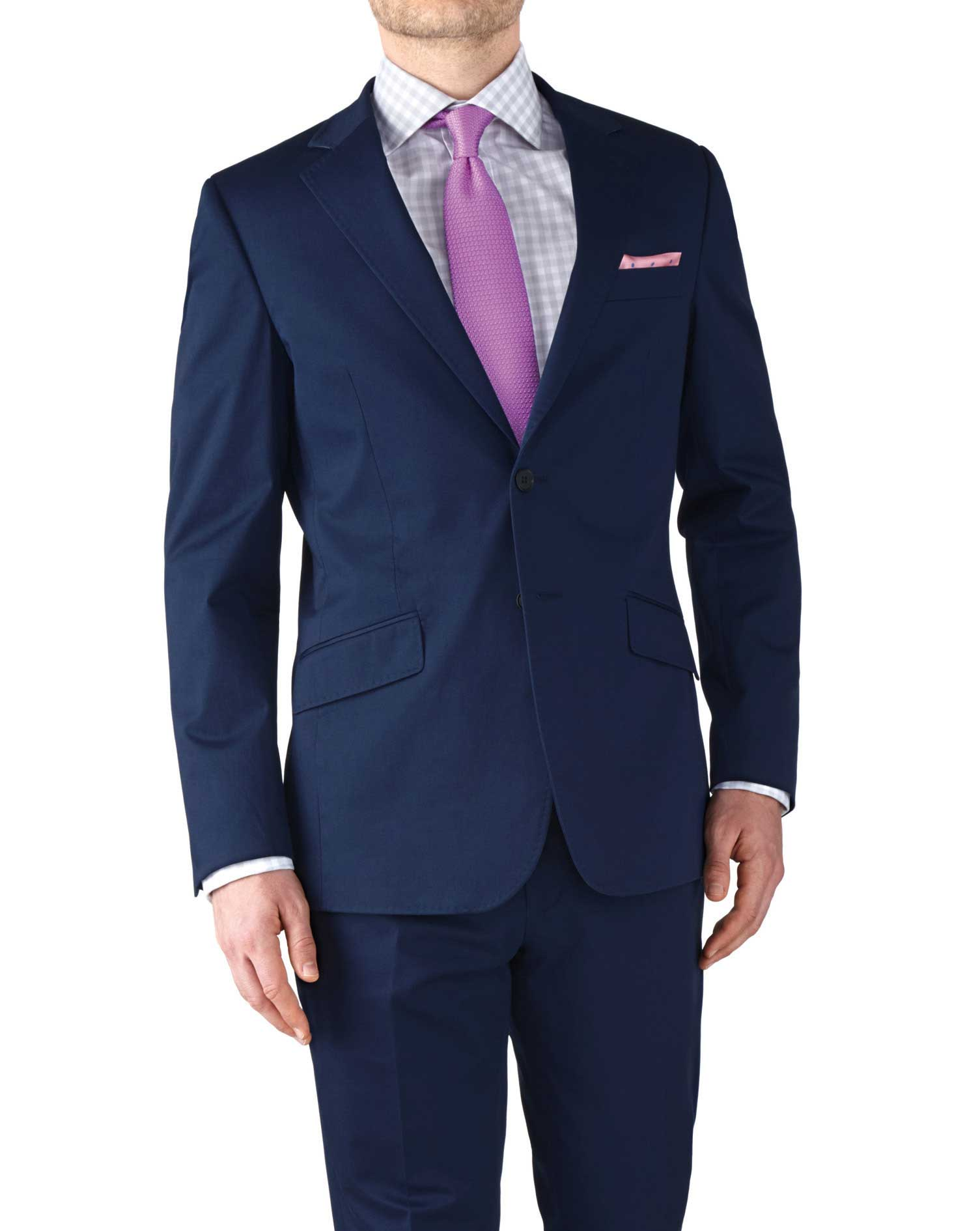 Navy Slim Fit Italian Cotton Business Suit Jacket Size 42 Long by Charles Tyrwhitt
