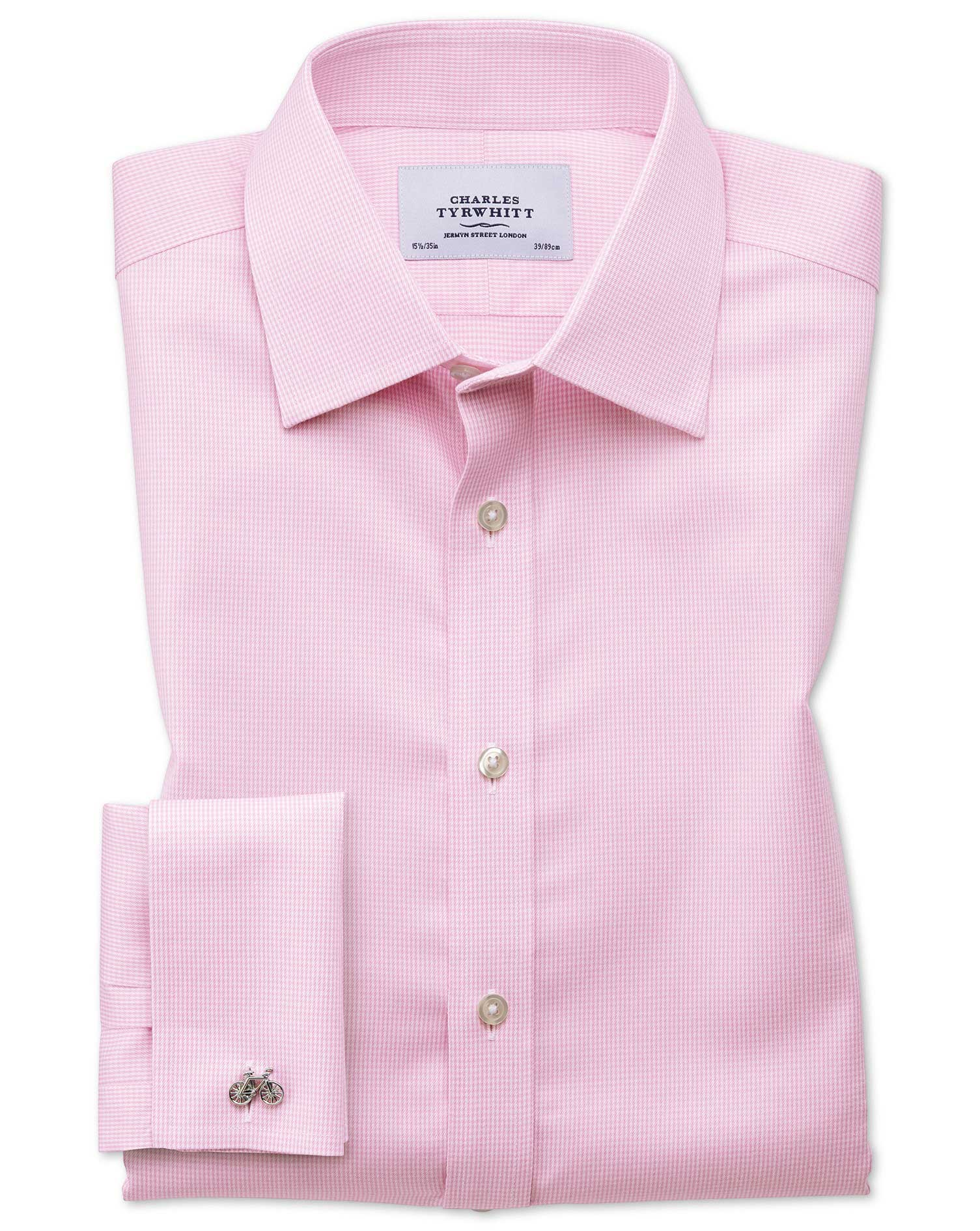 Slim Fit Non-Iron Puppytooth Light Pink Cotton Formal Shirt Single Cuff Size 16/32 by Charles Tyrwhi