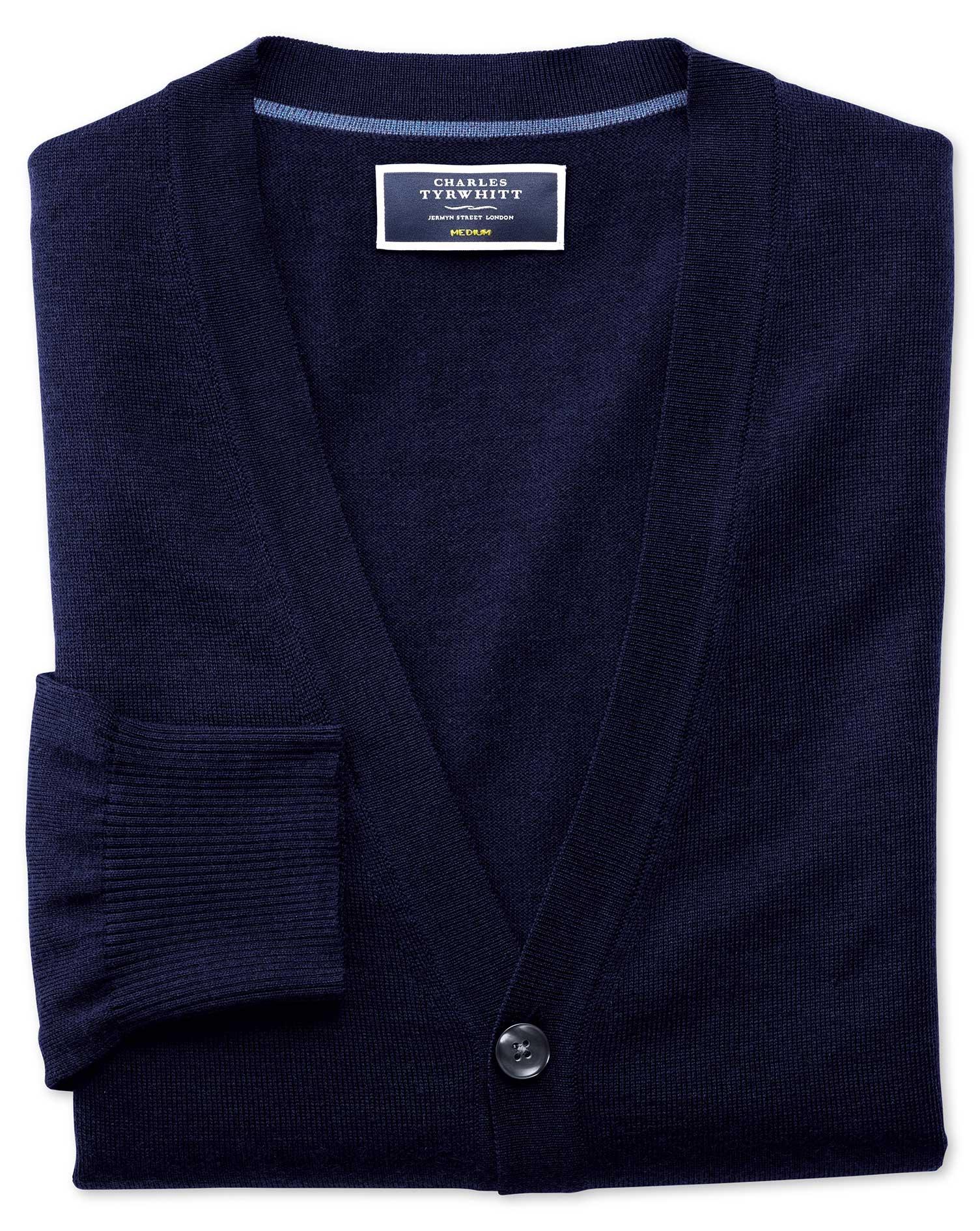 Navy Merino Wool Cardigan Size XL by Charles Tyrwhitt