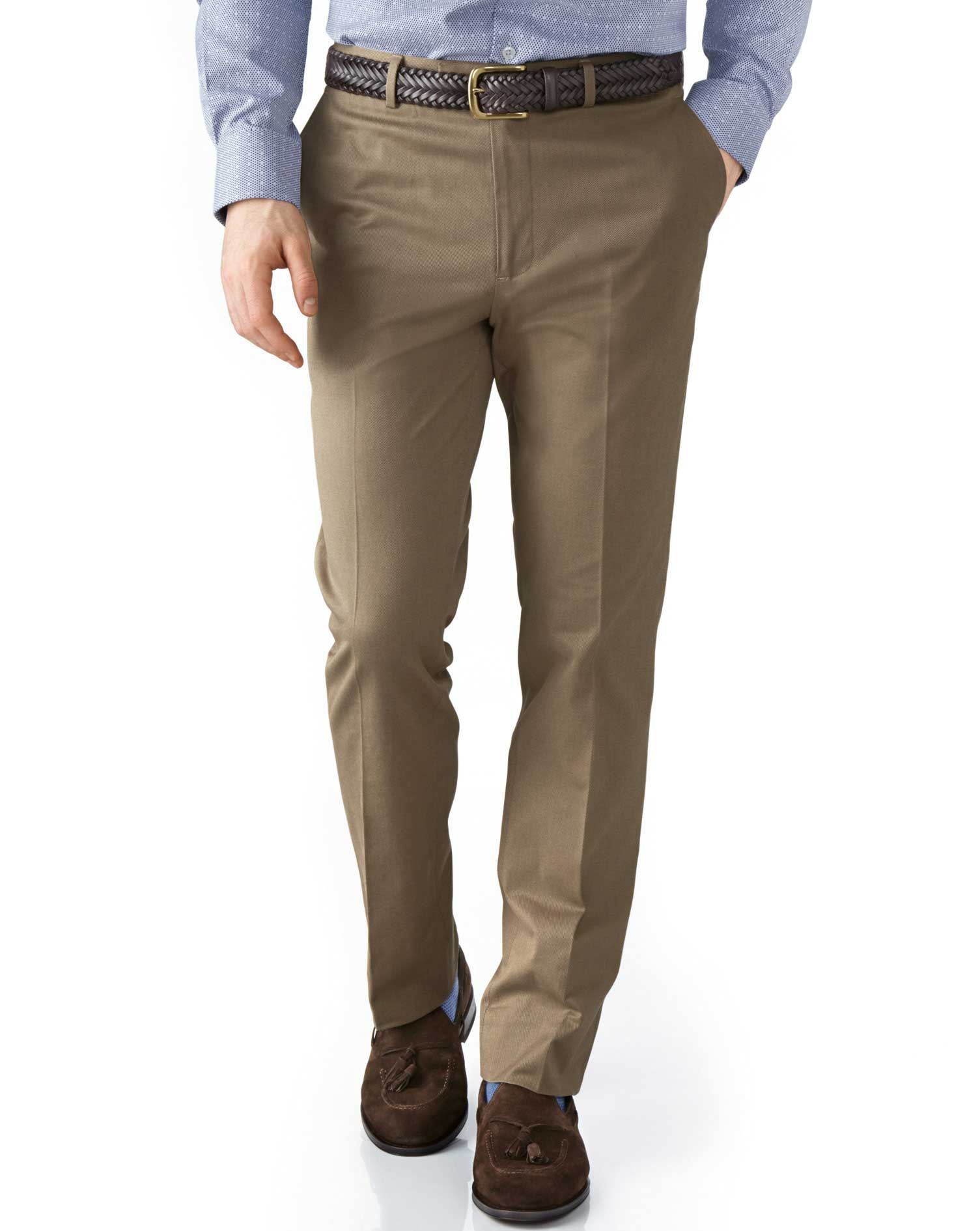 Tan Extra Slim Fit Stretch Cavalry Twill Trousers Size W38 L34 by Charles Tyrwhitt