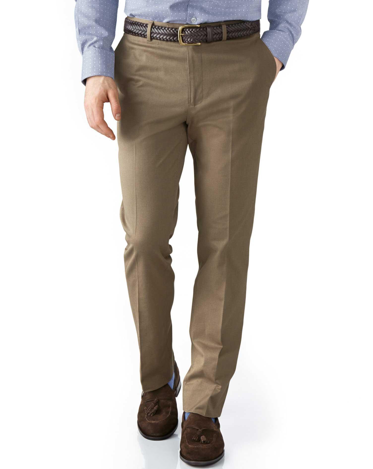 Tan Extra Slim Fit Stretch Cavalry Twill Trousers Size W34 L32 by Charles Tyrwhitt