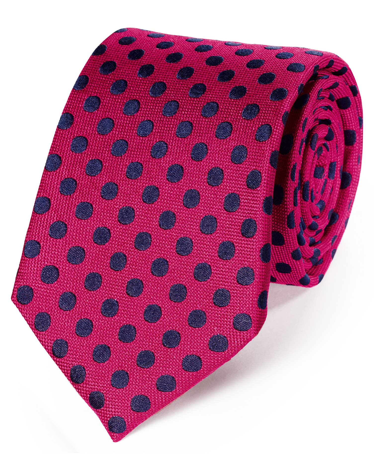 Pink and Navy Silk Large Spot Classic Tie Size OSFA by Charles Tyrwhitt