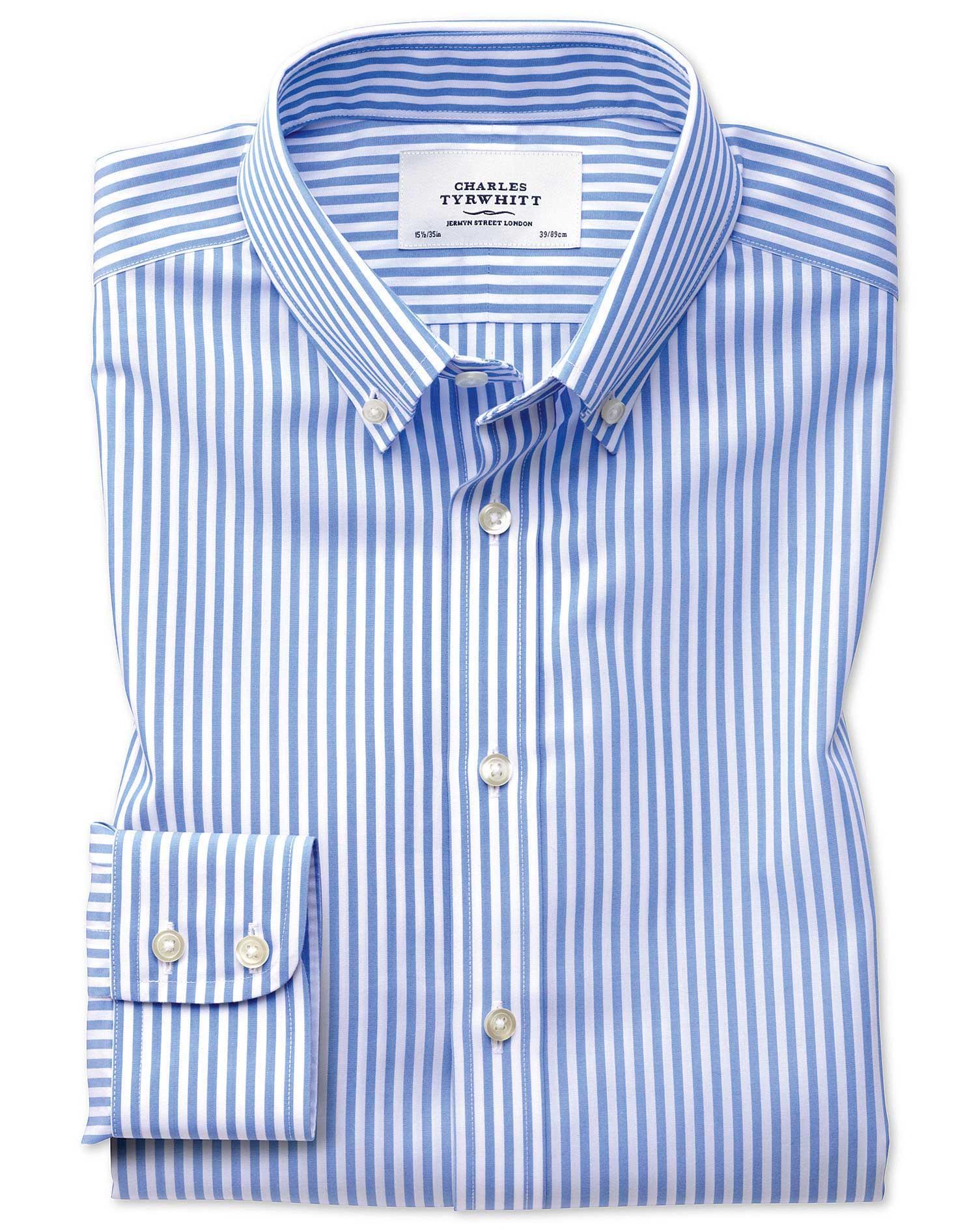 Extra Slim Fit Button-Down Non-Iron Sky Blue Stripe Check Cotton Formal Shirt Single Cuff Size 16.5/