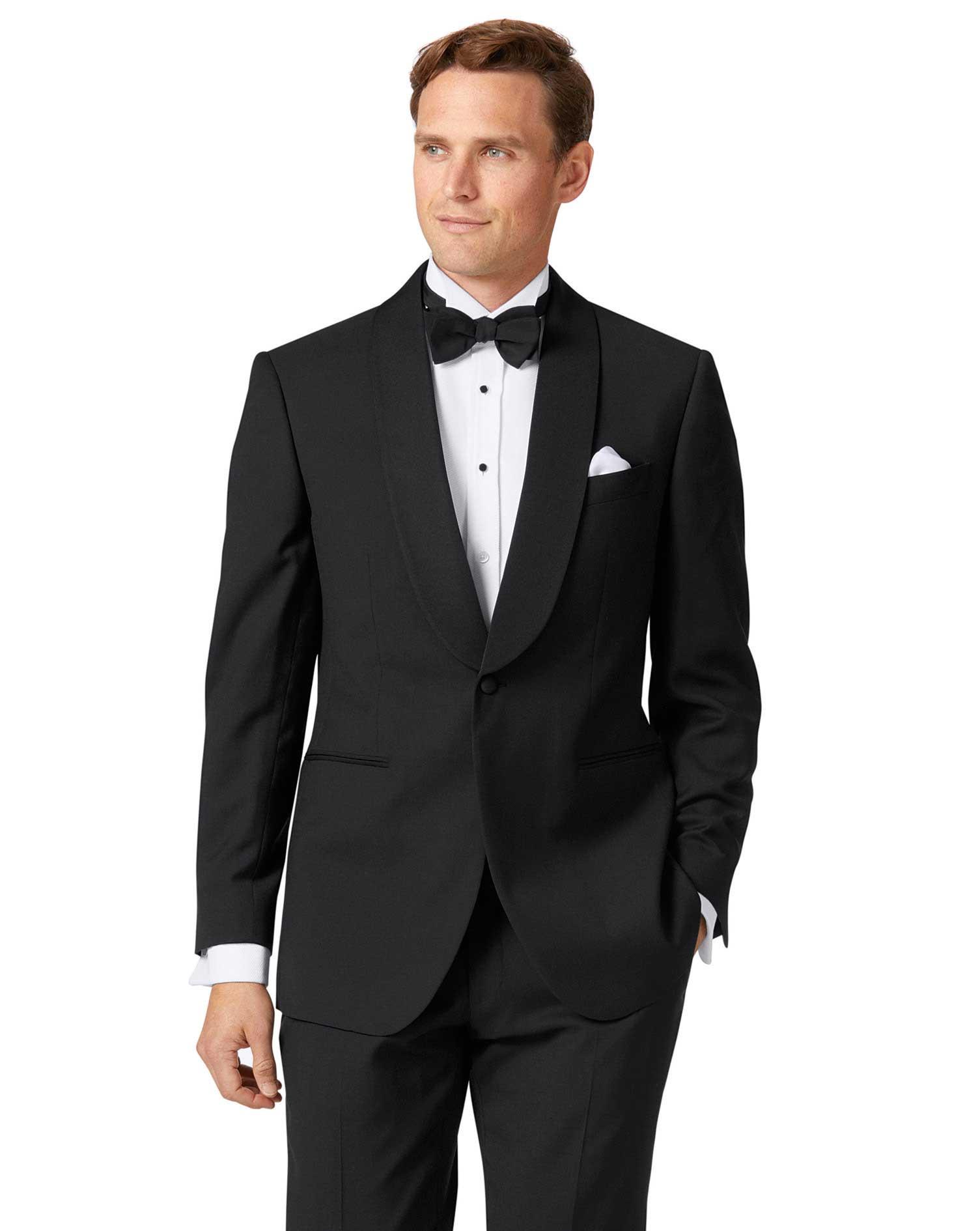 Black Slim Fit Shawl Collar Tuxedo Wool Jacket Size 36 Short by Charles Tyrwhitt