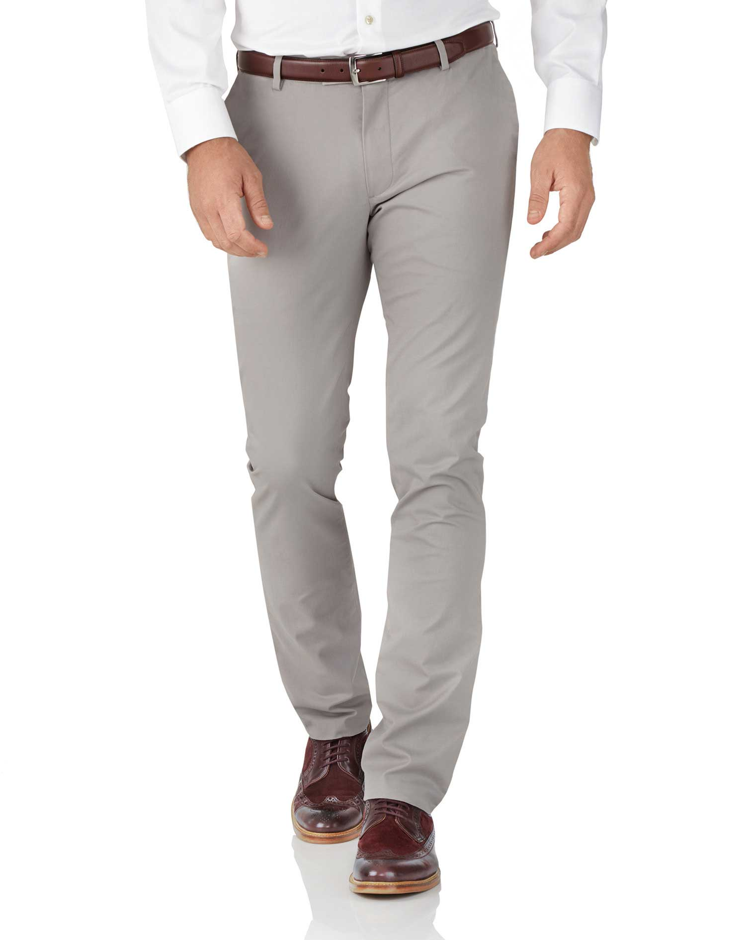Grey Extra Slim Fit Stretch Cotton Chino Trousers Size W32 L30 by Charles Tyrwhitt