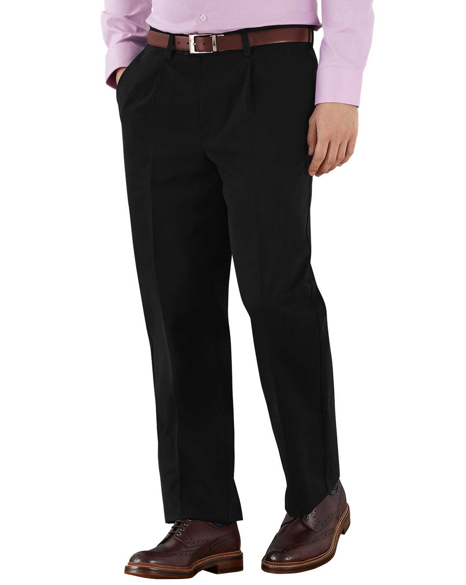 Black Classic Fit Single Pleat Non-Iron Cotton Chino Trousers Size W36 L38 by Charles Tyrwhitt