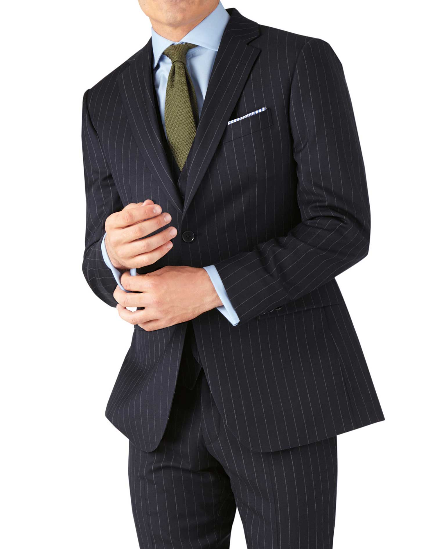 Navy Stripe Slim Fit Twill Business Suit Wool Jacket Size 46 Long by Charles Tyrwhitt