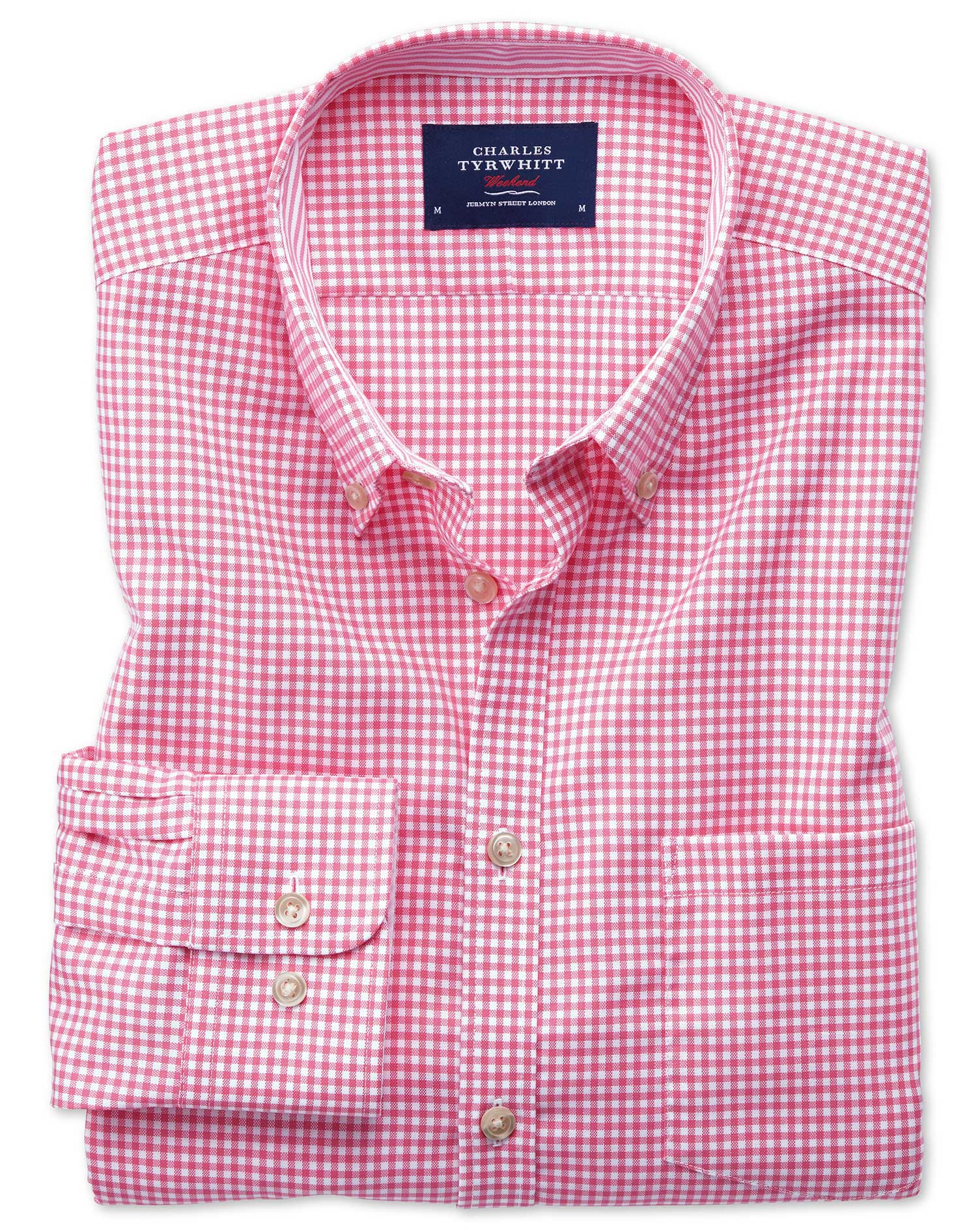 Classic Fit Button-Down Non-Iron Oxford Gingham Pink Cotton Shirt Single Cuff Size Medium by Charles