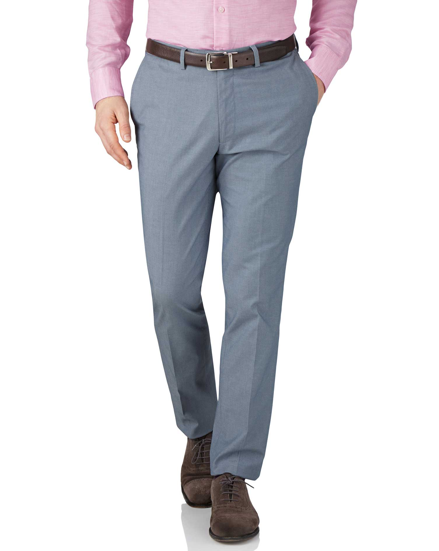 Blue Chambray Extra Slim Fit Stretch Cavalry Twill Trousers Size W38 L30 by Charles Tyrwhitt