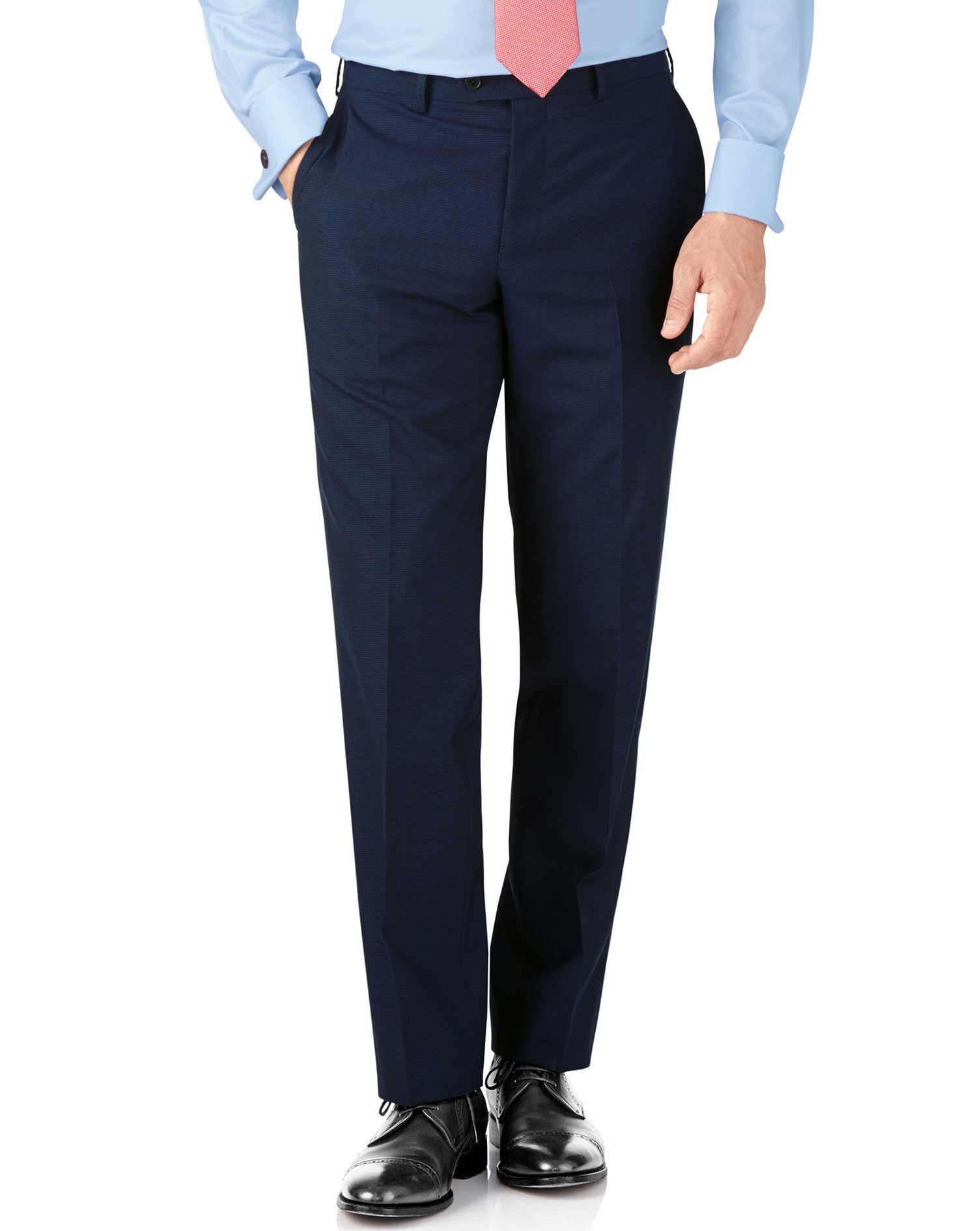 Indigo blue puppytooth classic fit Panama business suit trouser