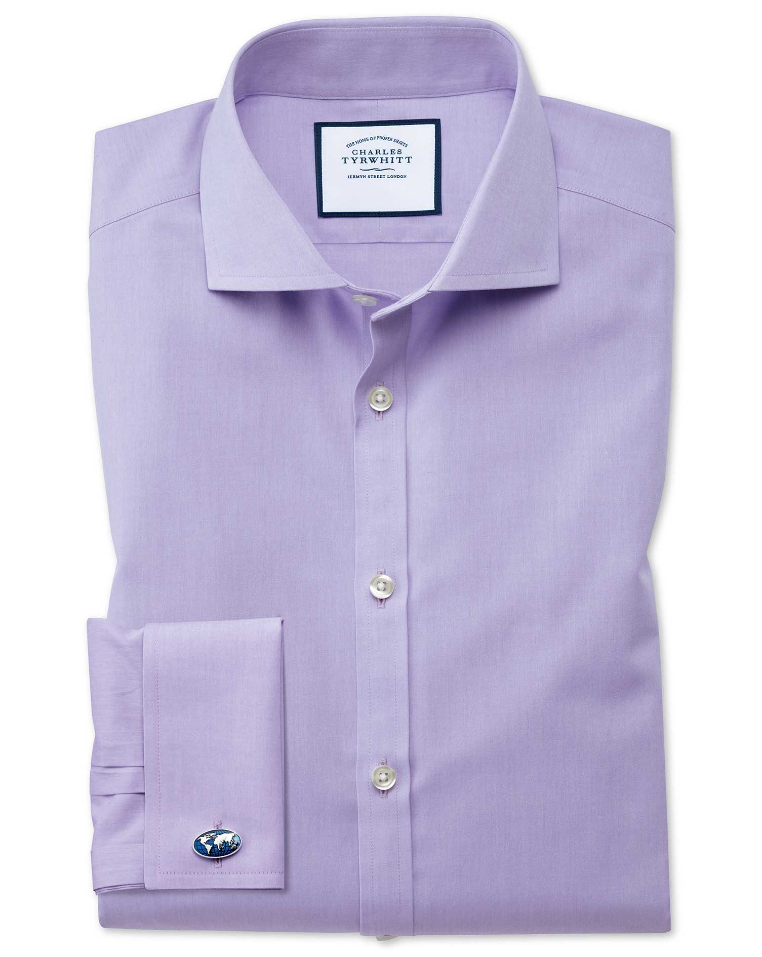 Extra Slim Fit Cutaway Non-Iron Poplin Lilac Cotton Formal Shirt Double Cuff Size 15.5/35 by Charles