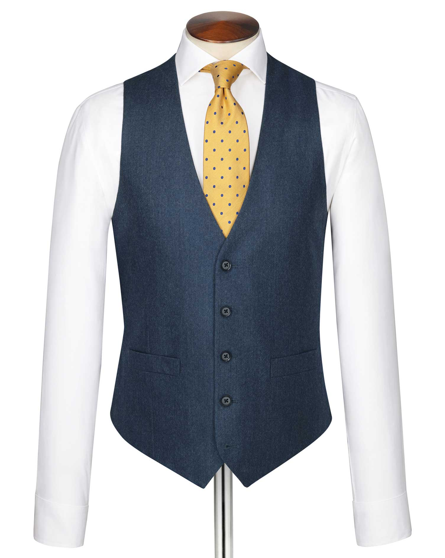 Blue Adjustable Fit Twill Business Suit Wool Waistcoat Size w46 by Charles Tyrwhitt
