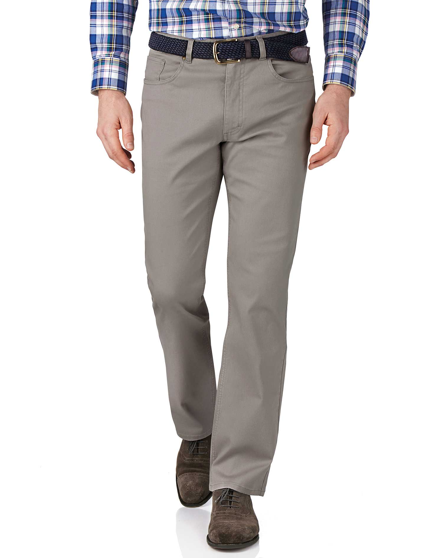 Silver Classic Fit Stretch Pique 5 Pocket Trousers Size W40 L34 by Charles Tyrwhitt