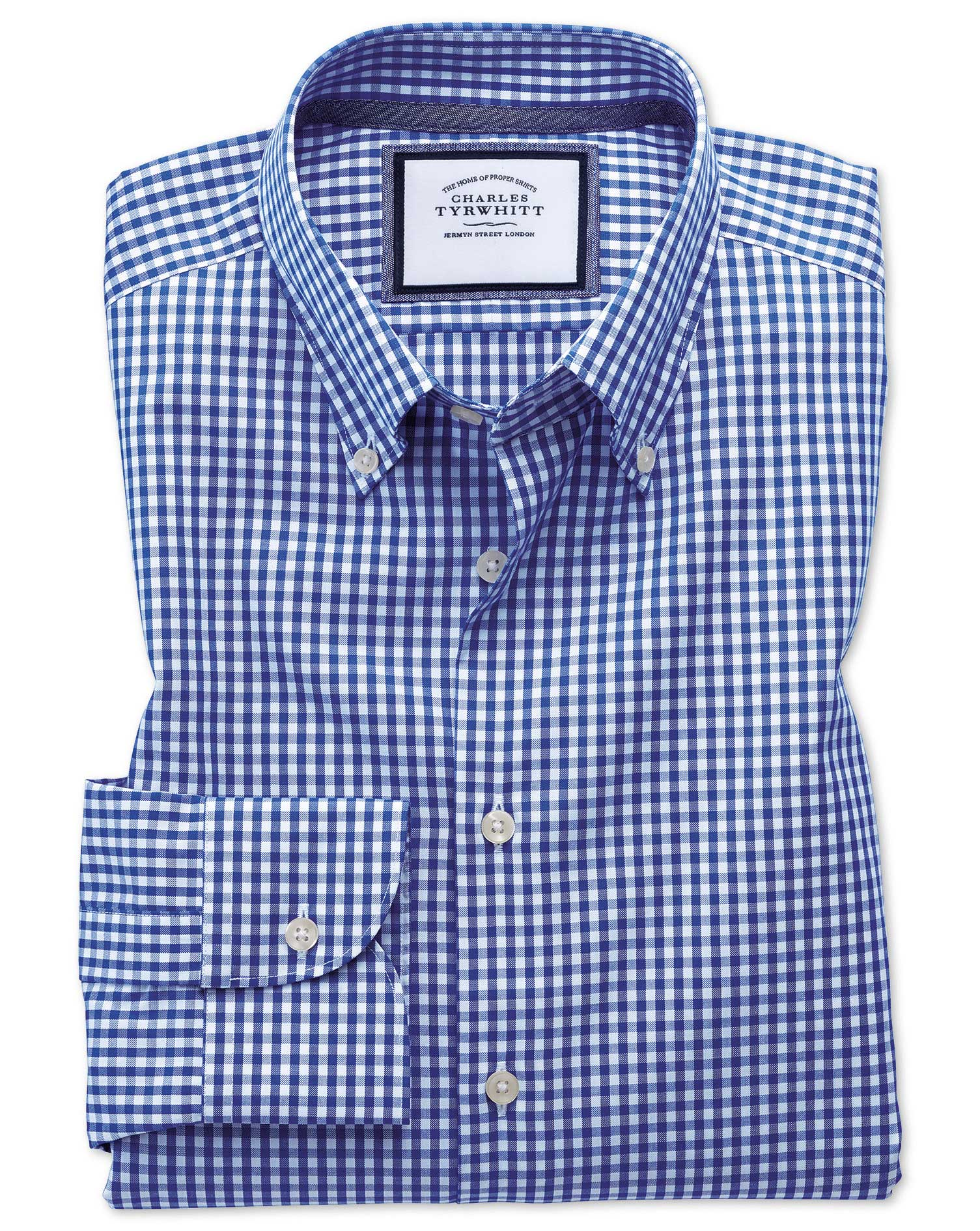 Extra Slim Fit Button-Down Business Casual Non-Iron Royal Blue Cotton Formal Shirt Single Cuff Size