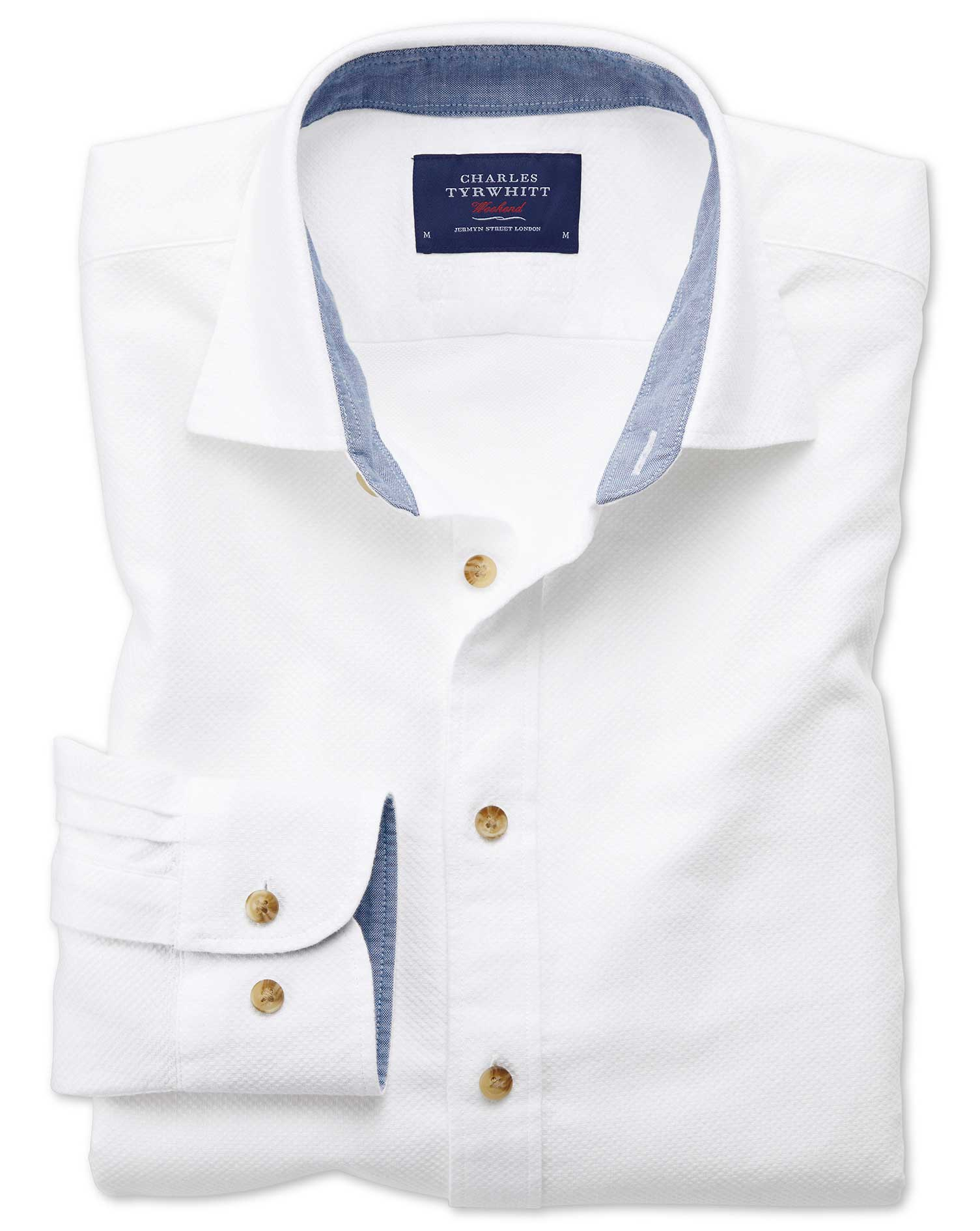Classic Fit Washed Textured White Cotton Shirt Single Cuff Size Medium by Charles Tyrwhitt