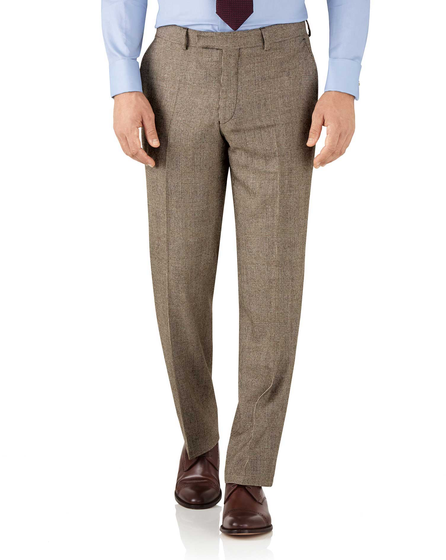 Tan Check Classic Fit British Serge Luxury Suit Trousers Size W32 L34 by Charles Tyrwhitt