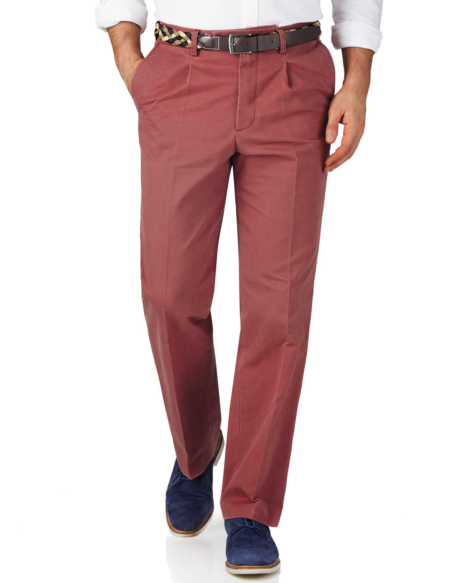 Light Red Classic Fit Single Pleat Weekend Cotton Chino Trousers Size W32 L38 by Charles Tyrwhitt