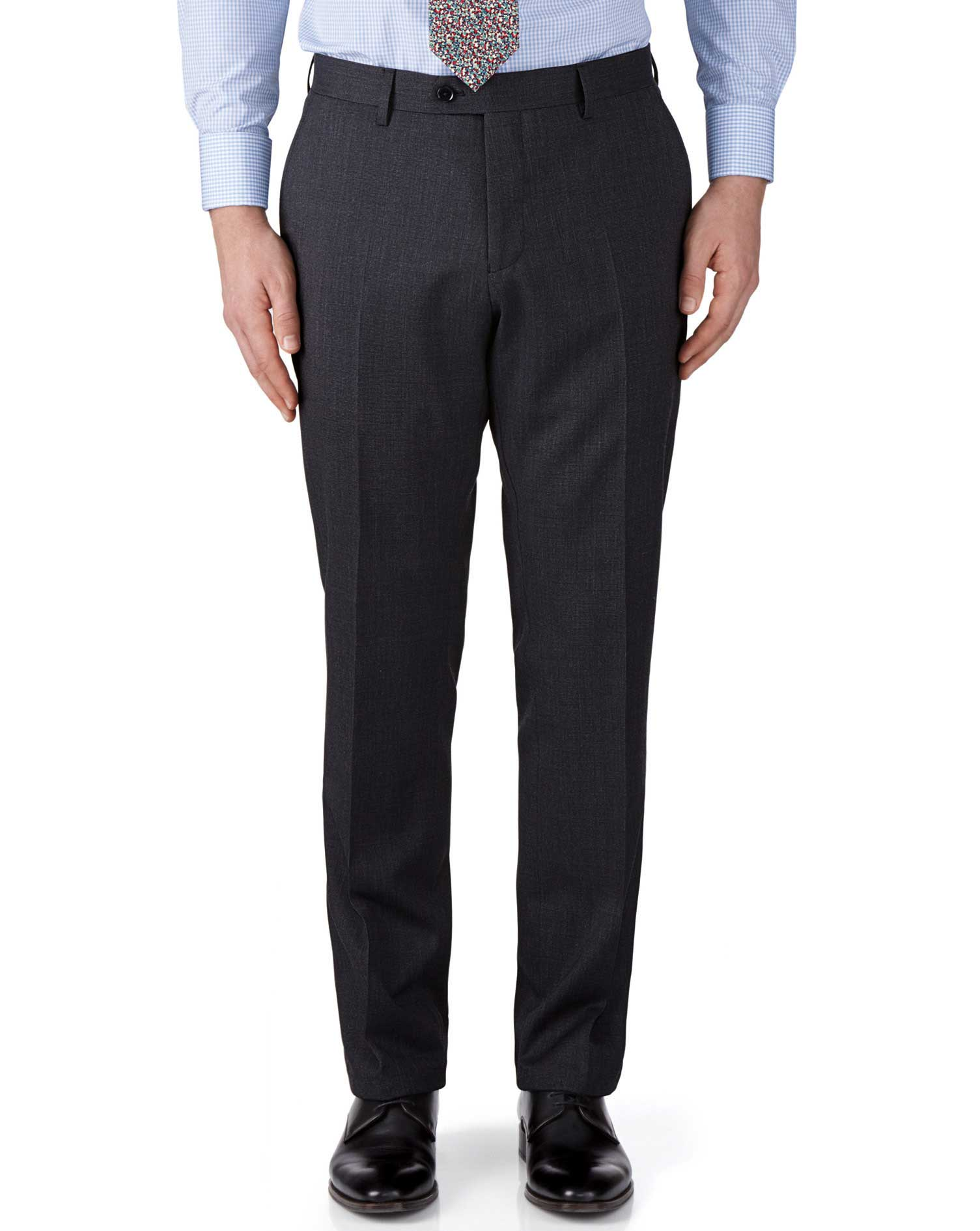 Charcoal classic fit end-on-end business suit trousers