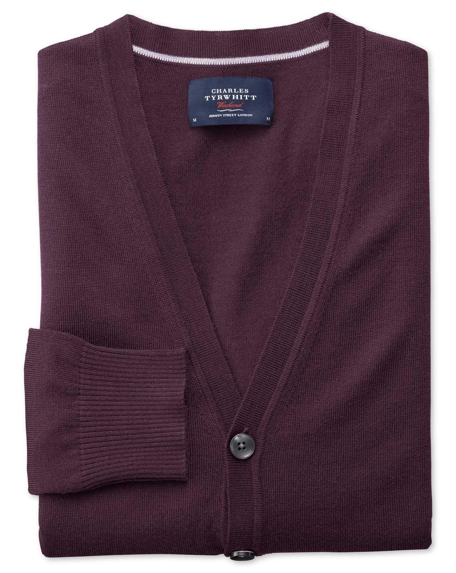 Wine Merino Wool Cardigan Size Medium by Charles Tyrwhitt