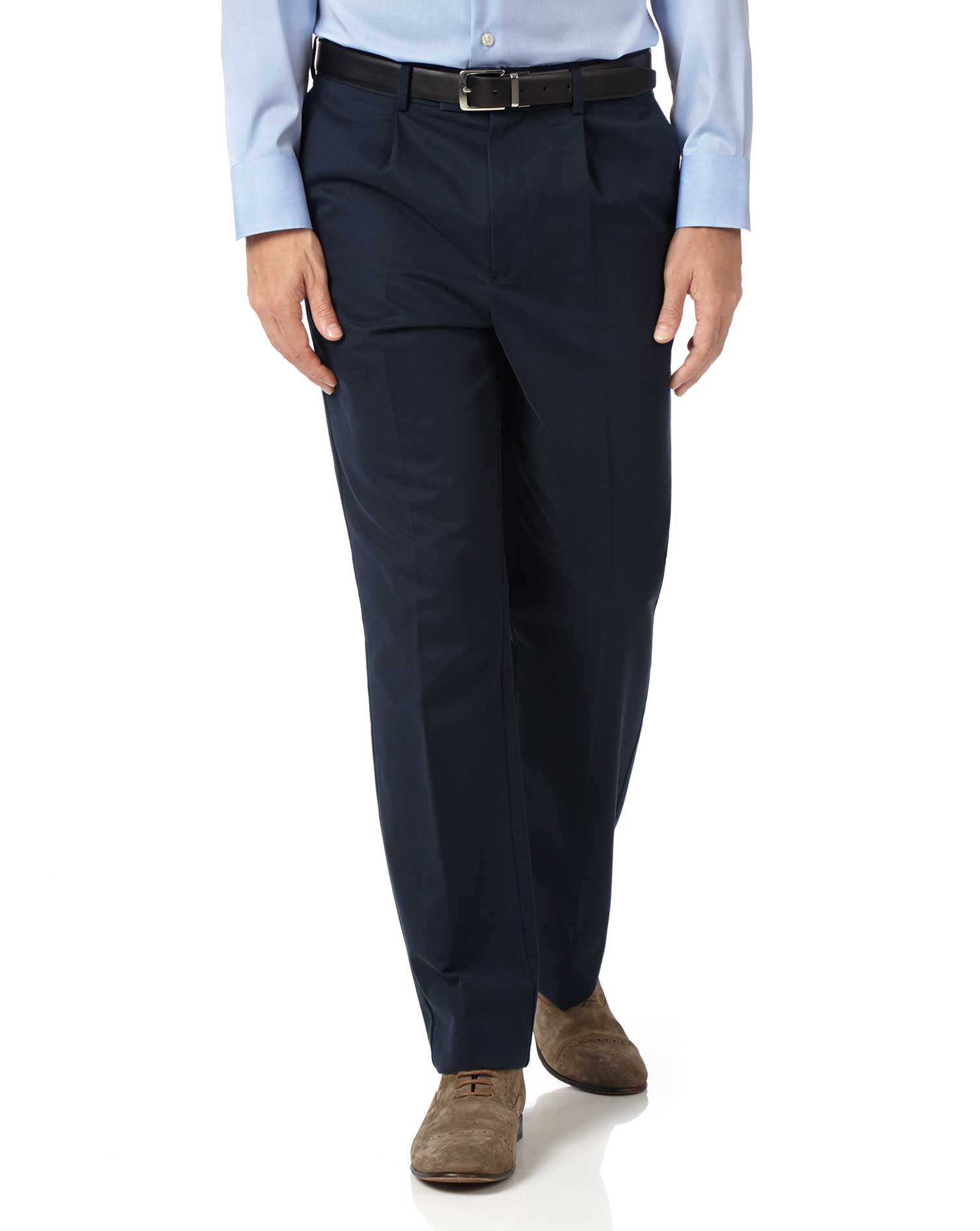 Navy Classic Fit Single Pleat Non-Iron Cotton Chino Trousers Size W36 L30 by Charles Tyrwhitt