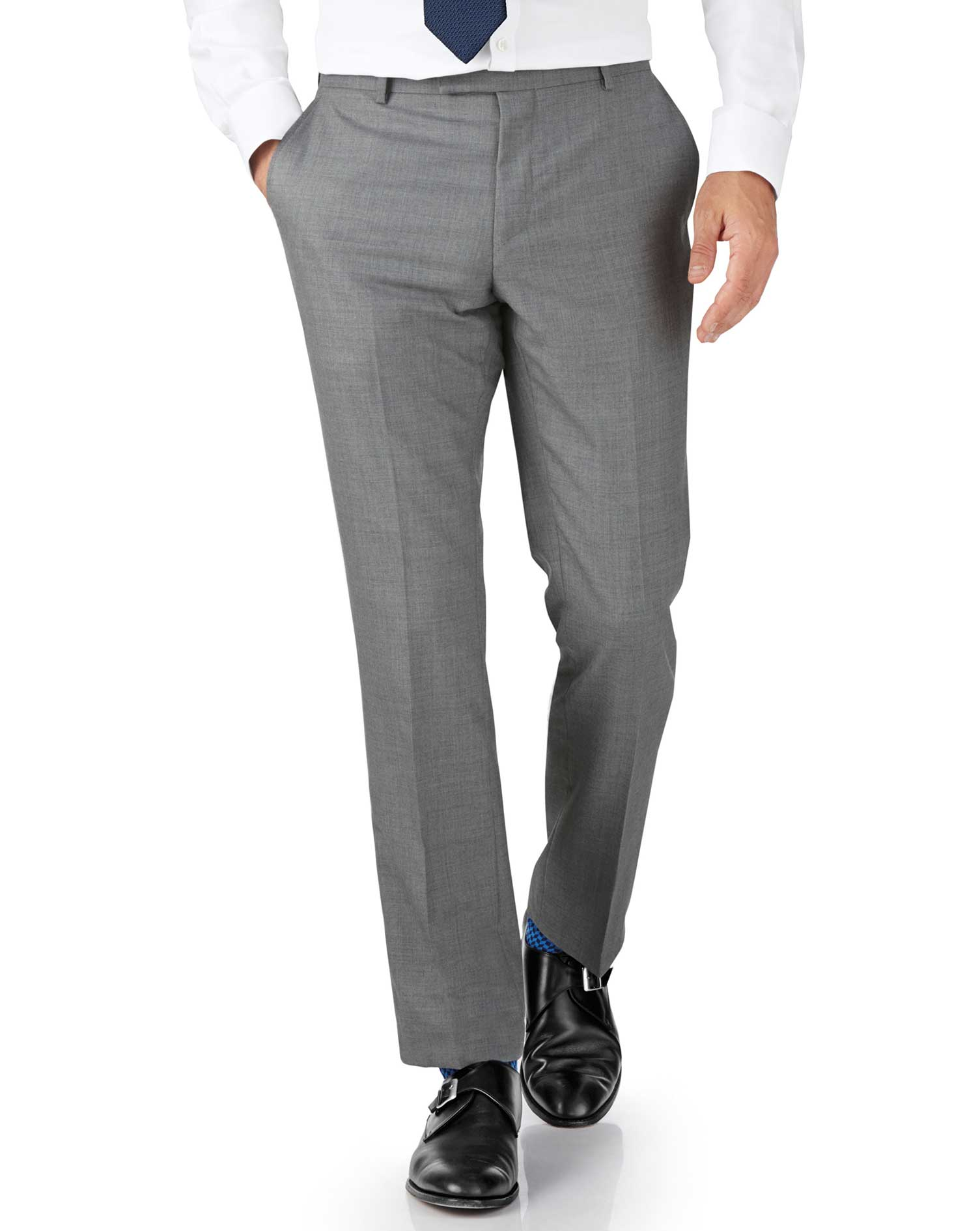Silver Slim Fit British Panama Luxury Suit Trousers Size W40 L38 by Charles Tyrwhitt