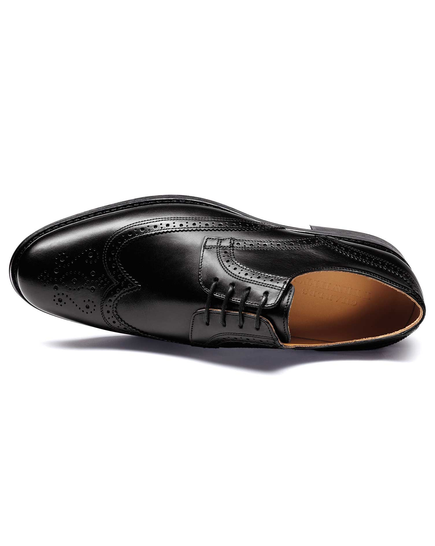 Black Halton Wing Tip Brogue Derby Shoes Size 9 R by Charles Tyrwhitt