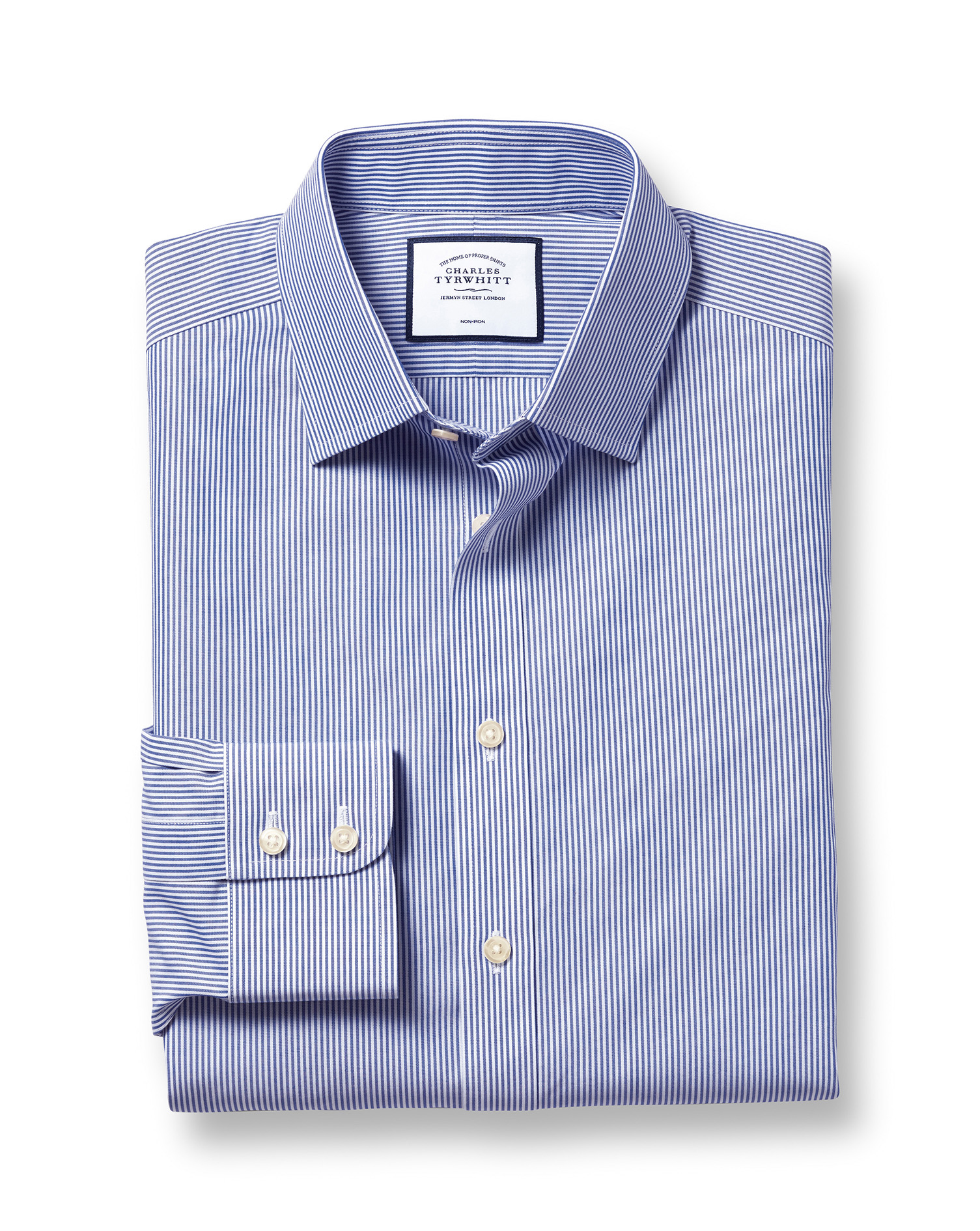 Slim Fit Non-Iron Bengal Stripe Navy Blue Cotton Formal Shirt Single Cuff Size 18/37 by Charles Tyrw