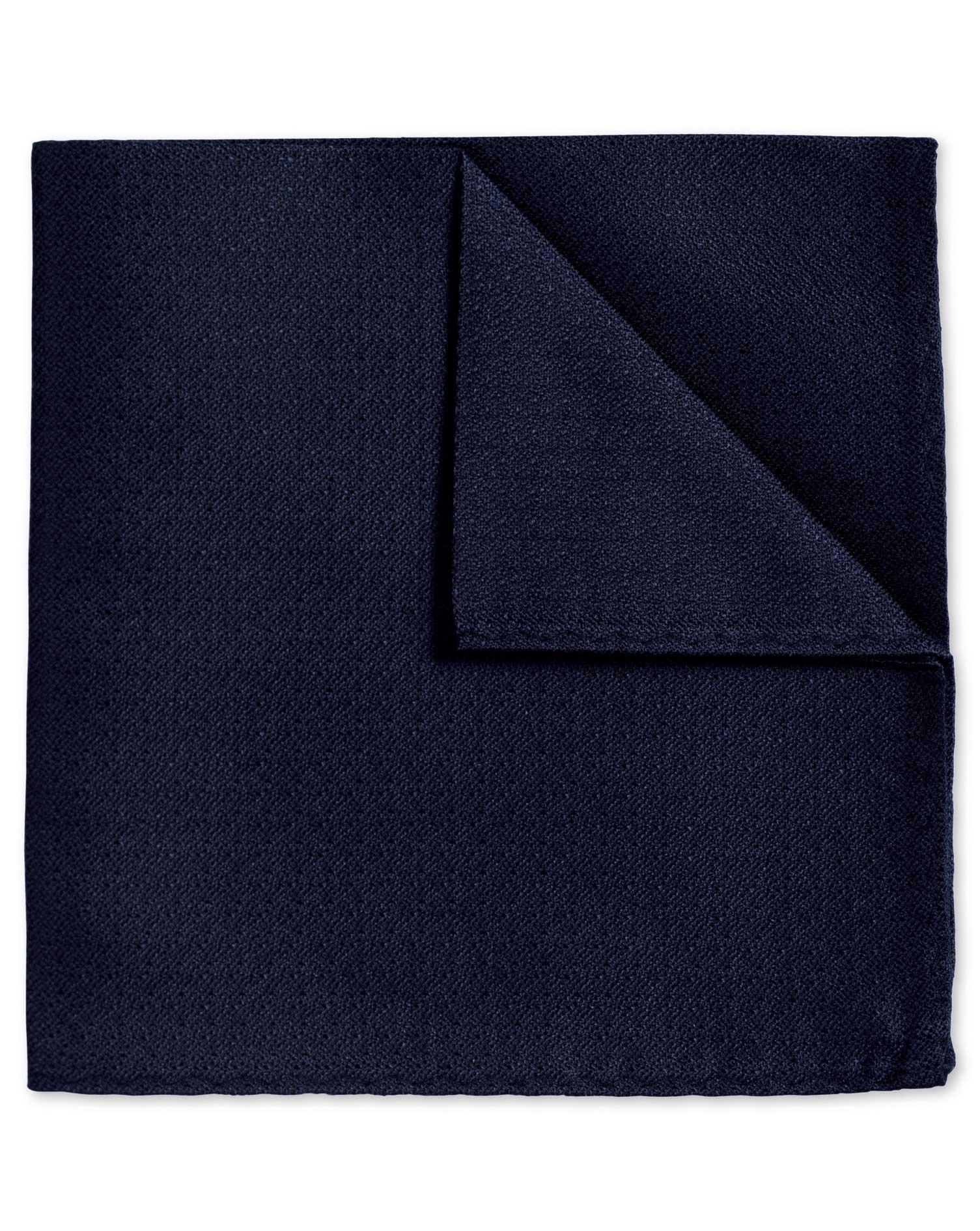 Navy Textured Plain Classic Silk Pocket Square Size OSFA by Charles Tyrwhitt