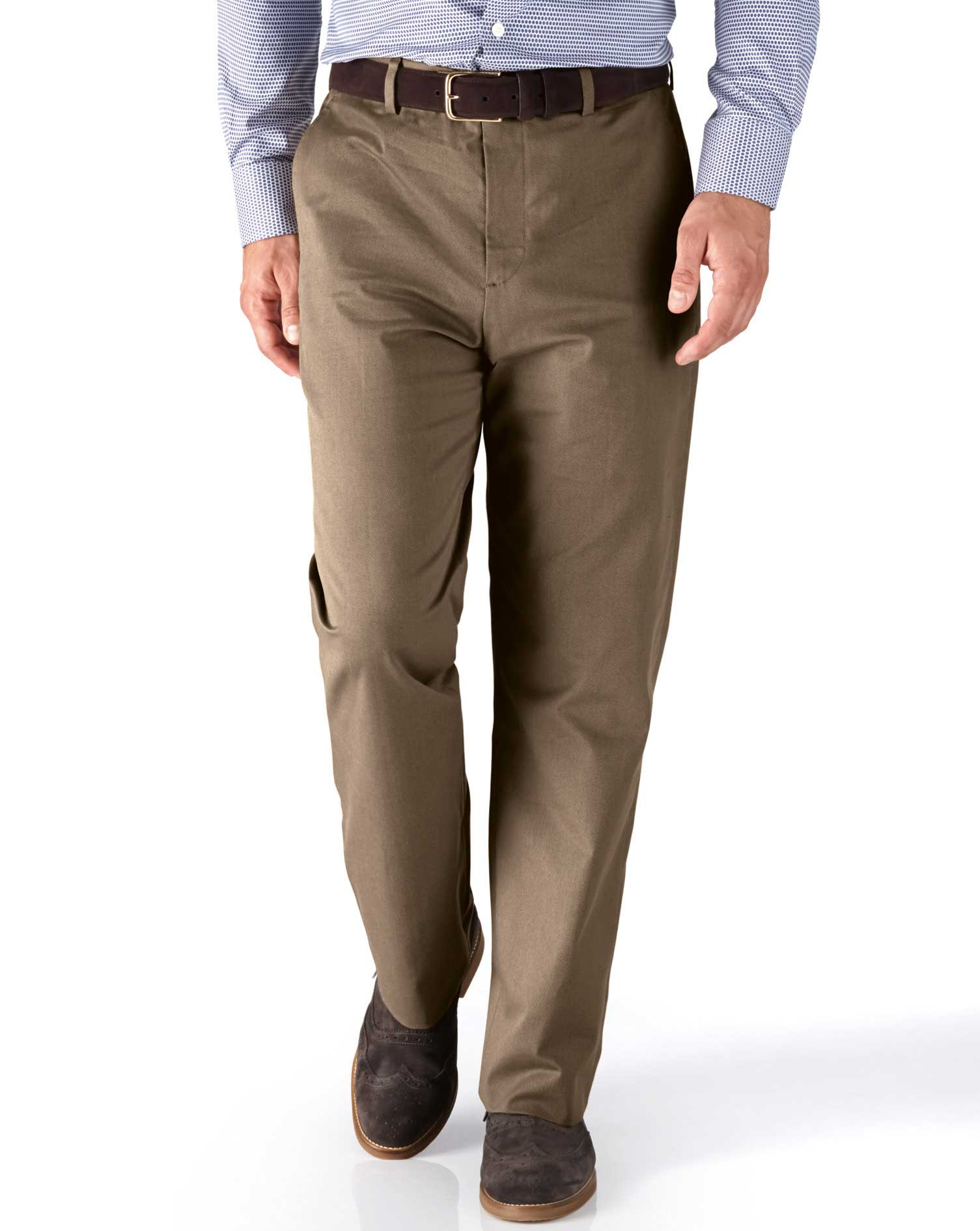 Tan Classic Fit Stretch Cavalry Twill Trousers Size W38 L34 by Charles Tyrwhitt