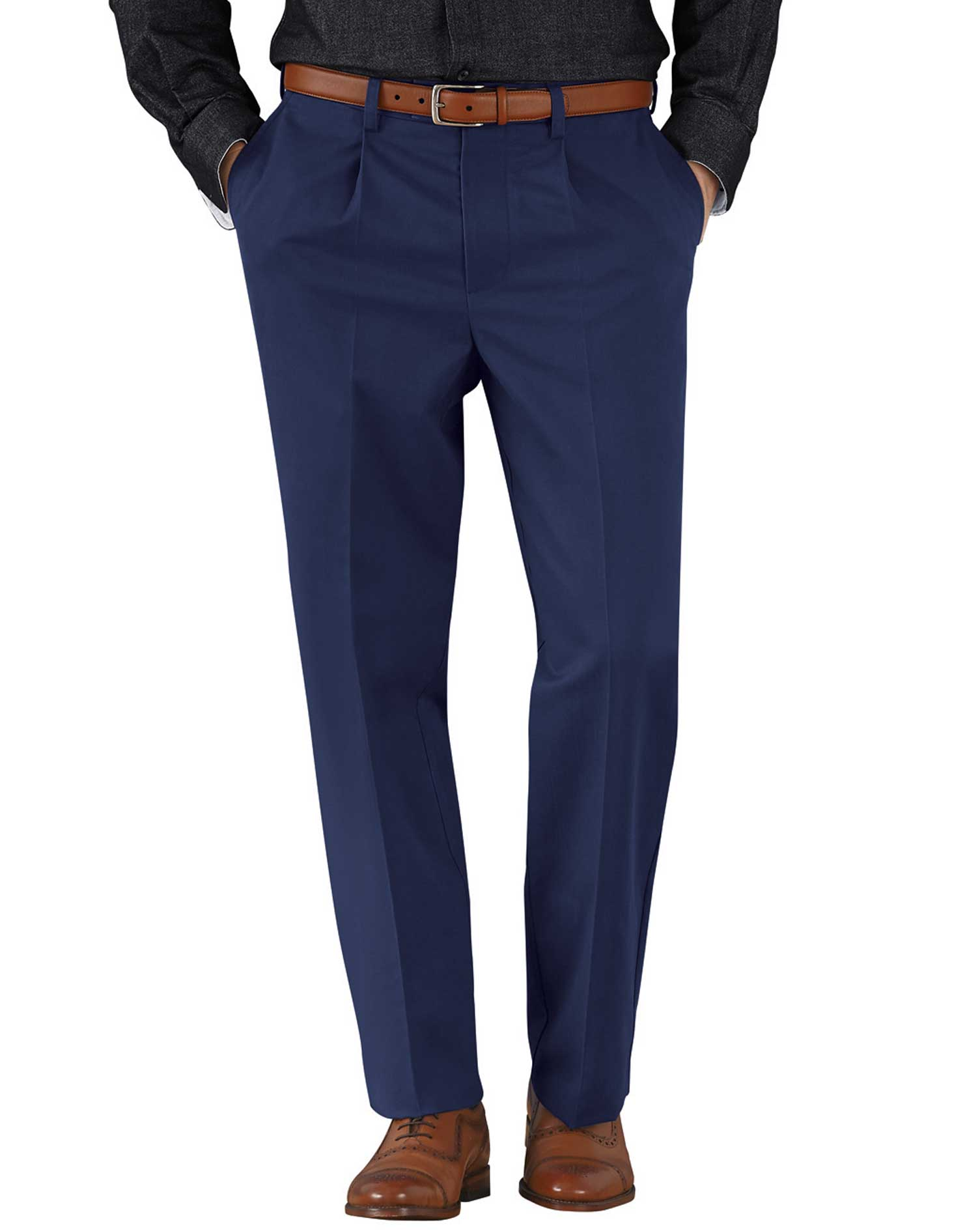 Marine Blue Classic Fit Single Pleat Non-Iron Cotton Chino Trousers Size W36 L30 by Charles Tyrwhitt
