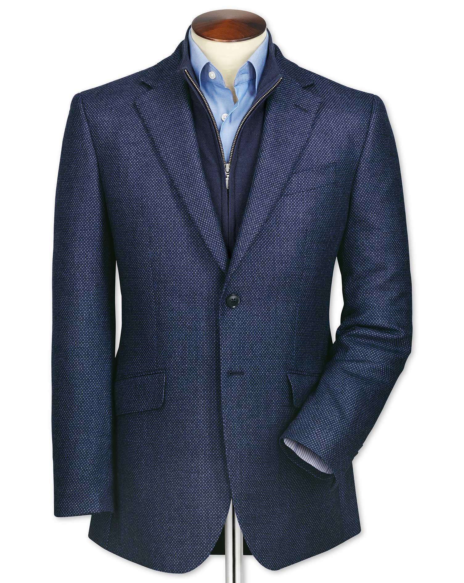 Slim Fit Blue Birdseye Lambswool Wool Jacket Size 44 Long by Charles Tyrwhitt