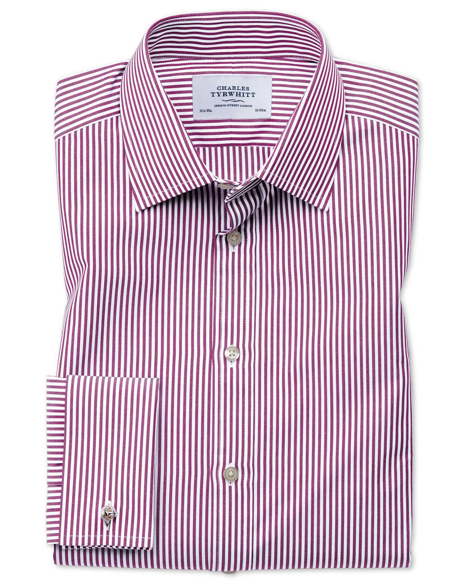 Slim Fit Bengal Stripe Purple Cotton Formal Shirt Single Cuff Size 16.5/34 by Charles Tyrwhitt