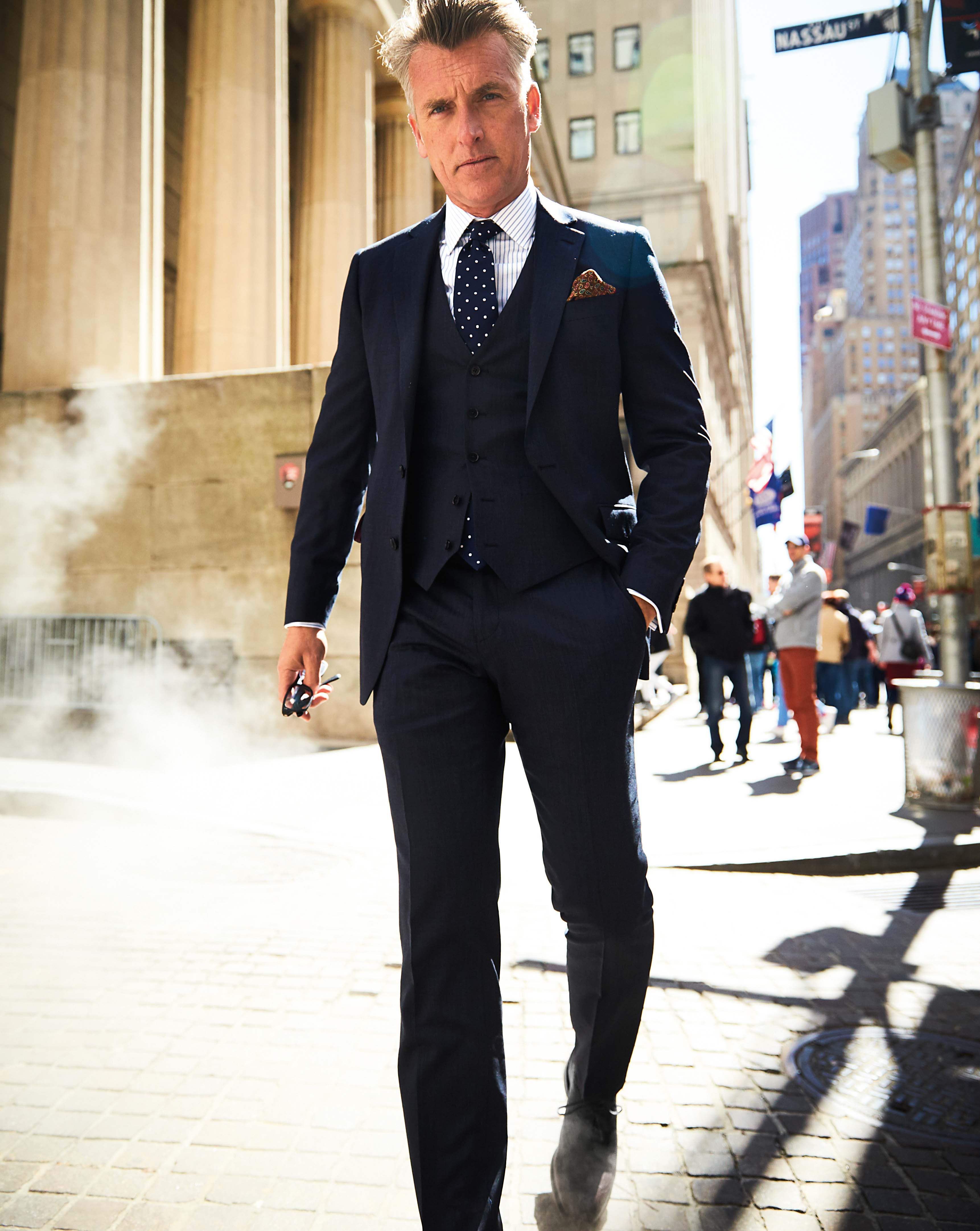 Navy end-on-end business suit vest