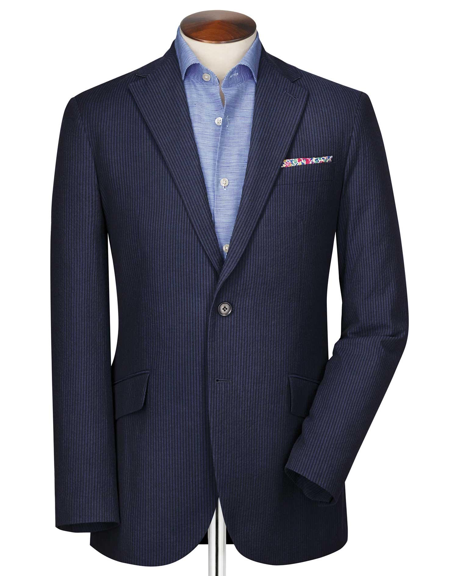 Slim Fit Black and Blue Stripe Seersucker Cotton Jacket Size 36 Regular by Charles Tyrwhitt