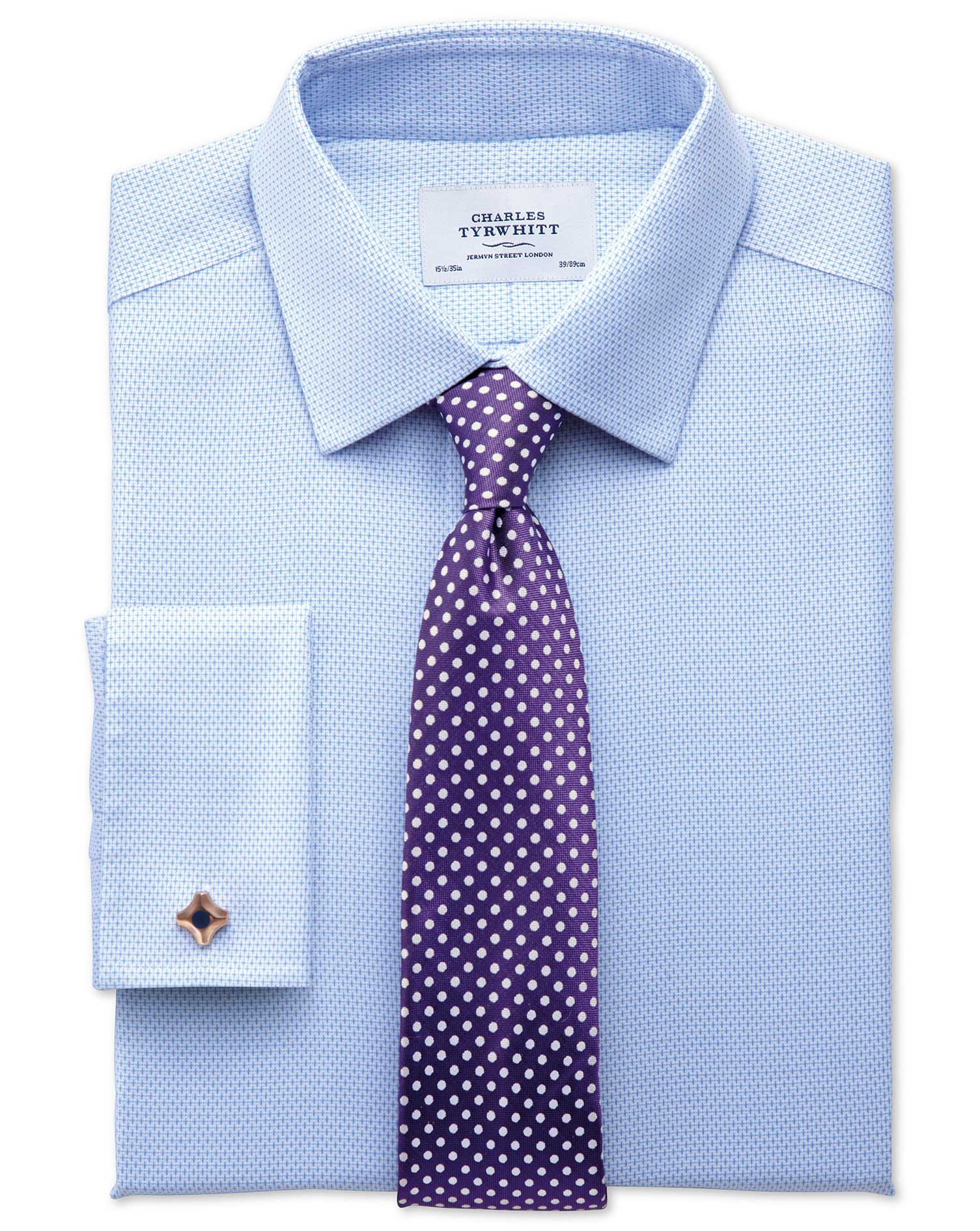 Extra slim fit non iron imperial weave sky blue shirt for Charles tyrwhitt shirts review