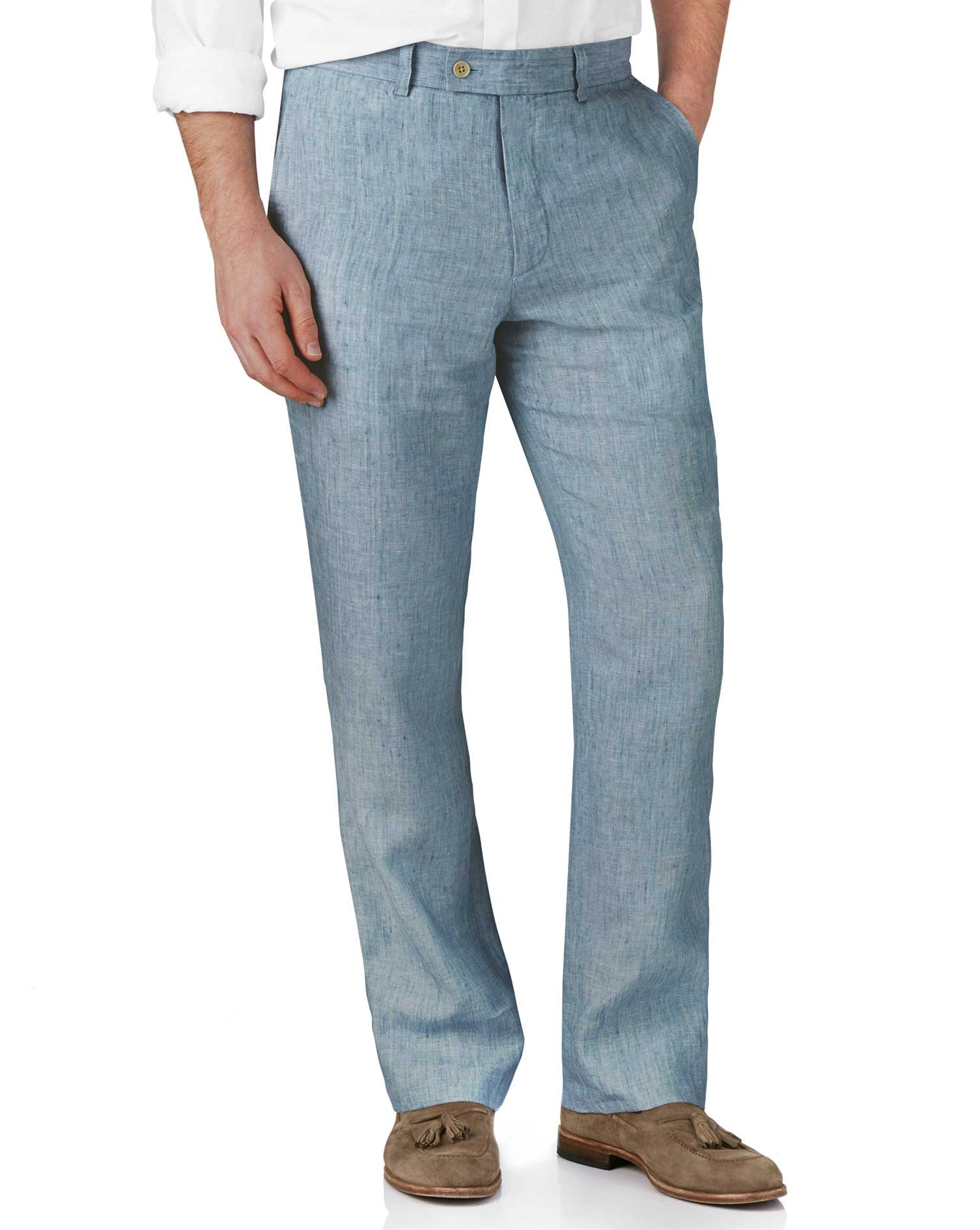 Light Blue Classic Fit Linen Trousers Size W42 L34 by Charles Tyrwhitt