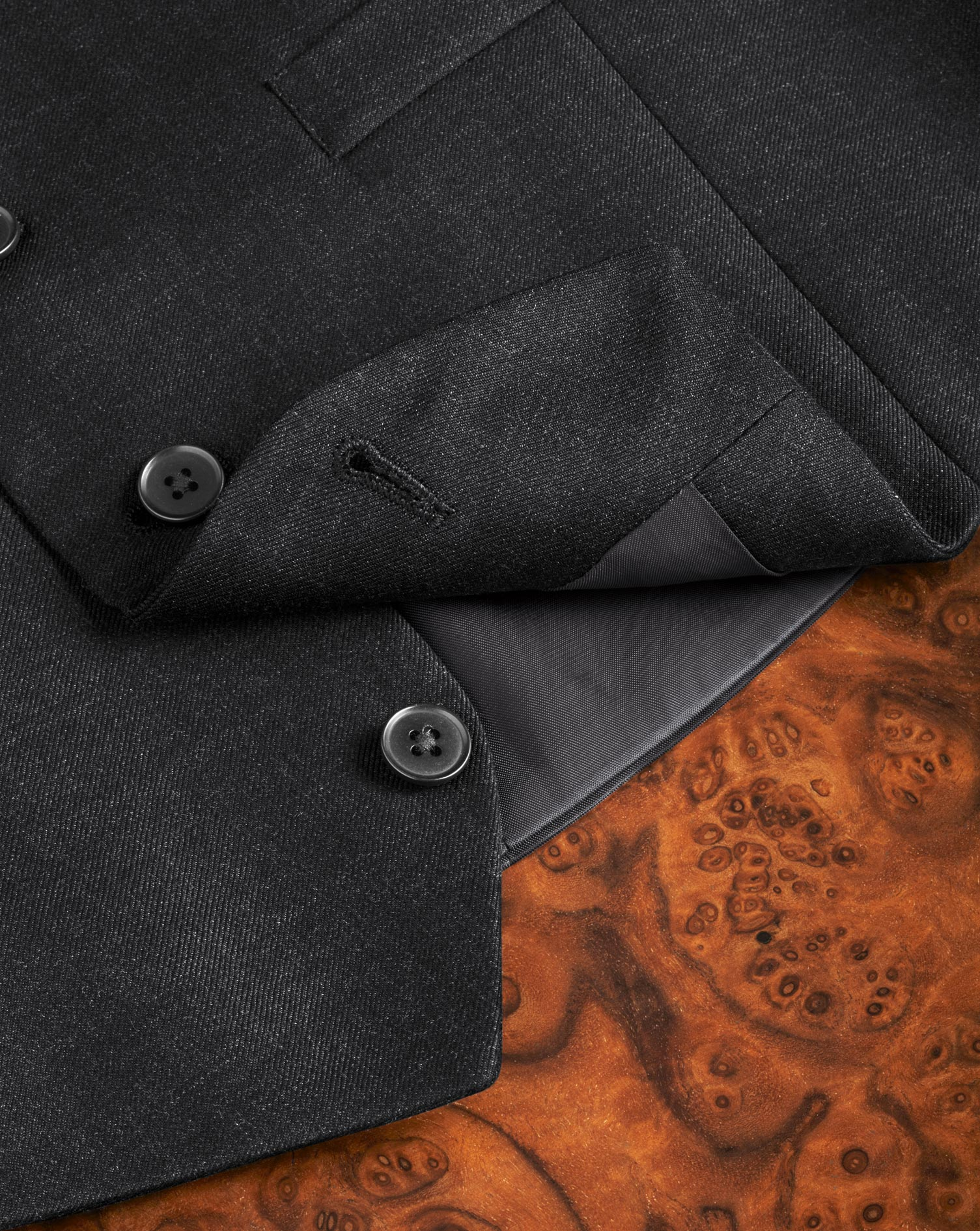Charcoal adjustable fit twill business suit vest