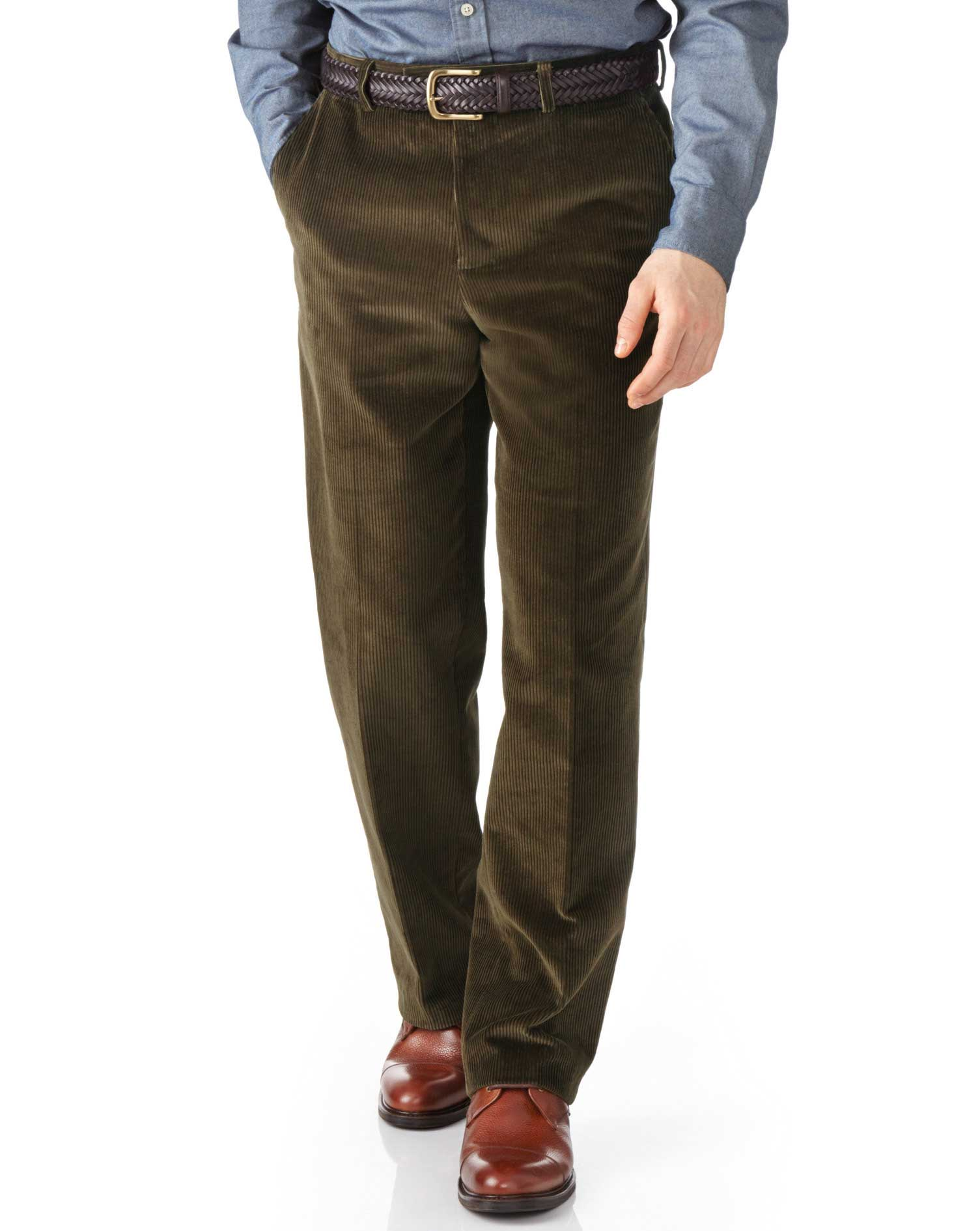 Olive Classic Fit Jumbo Cord Trousers Size W36 L34 by Charles Tyrwhitt