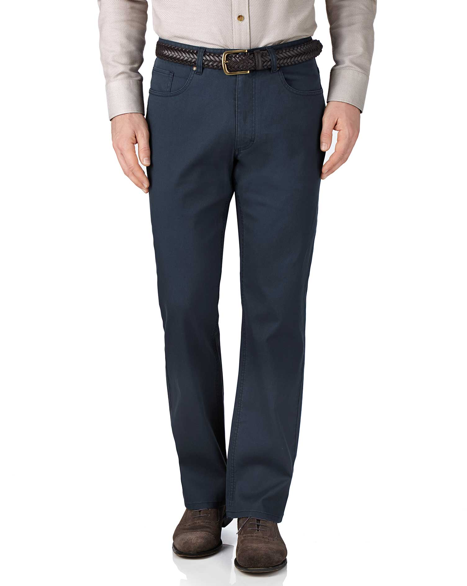Blue Classic Fit Stretch Pique 5 Pocket Trousers Size W42 L34 by Charles Tyrwhitt