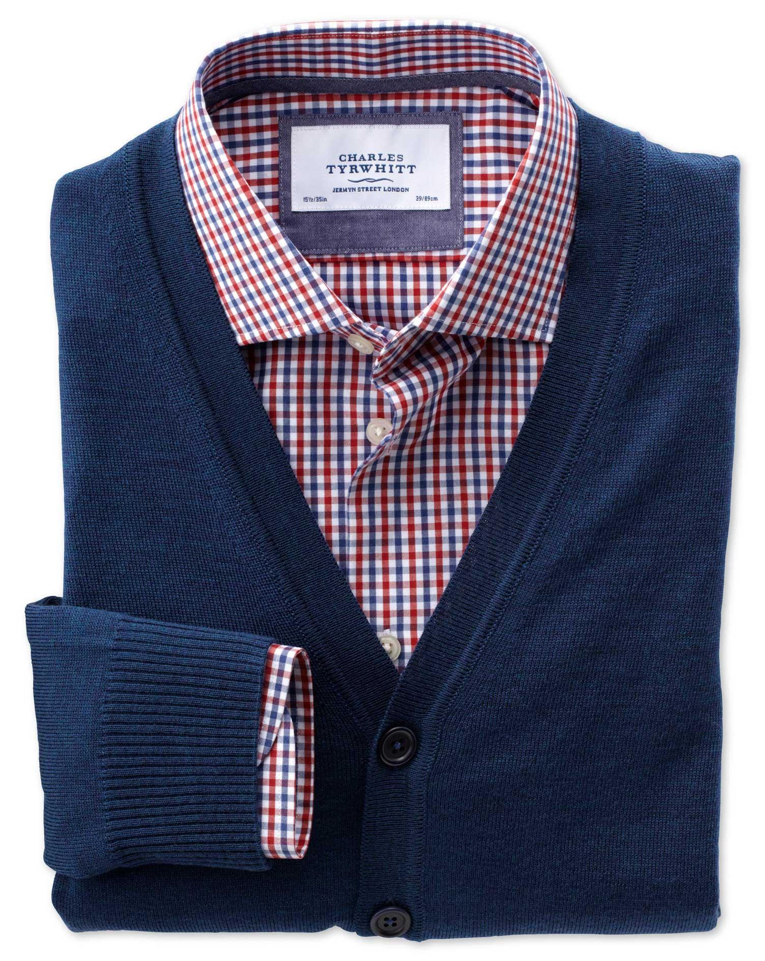 Mid Blue Merino Wool Cardigan Size XXXL by Charles Tyrwhitt