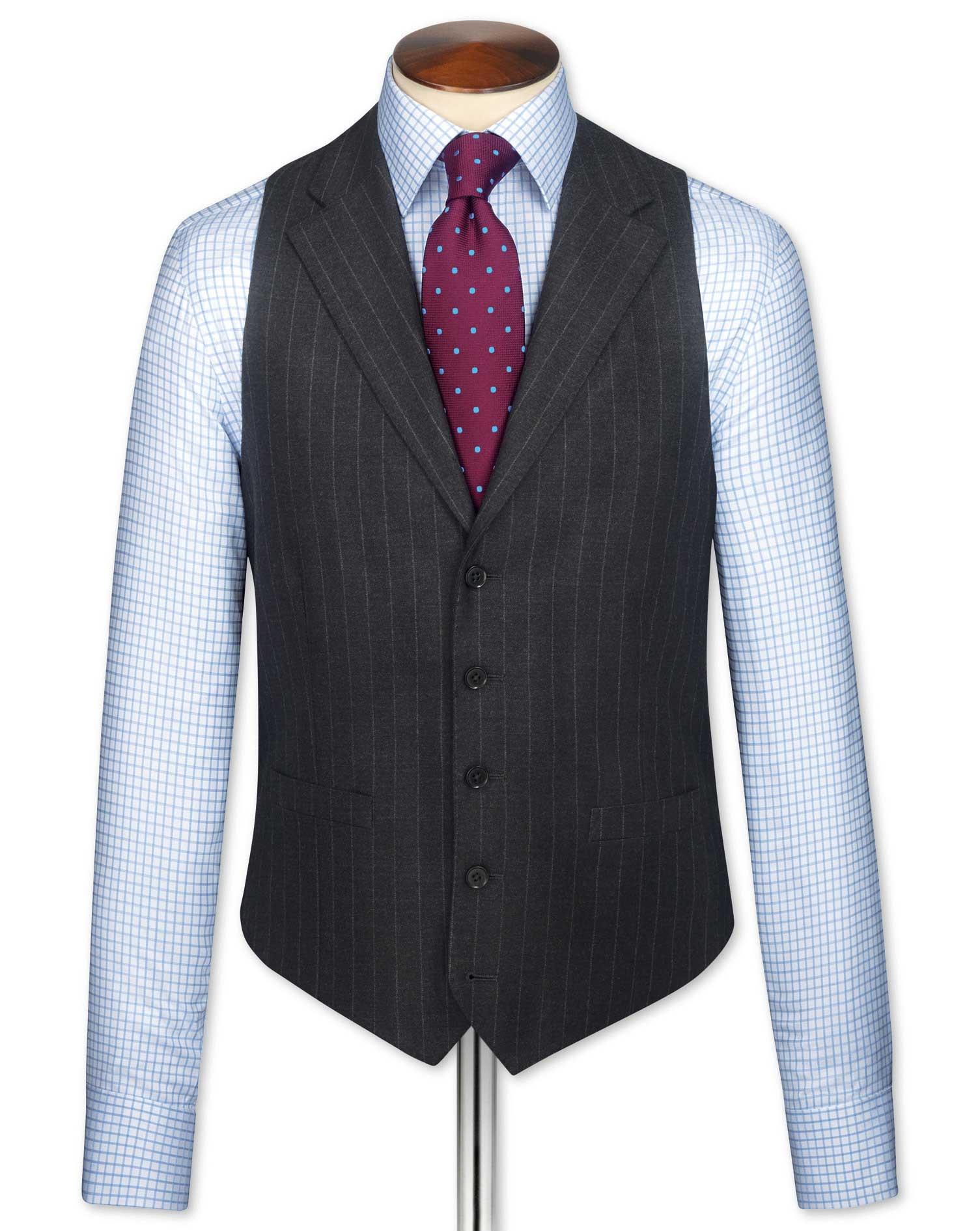 Charcoal Saxony Business Suit Wool Waistcoat Size w36 by Charles Tyrwhitt