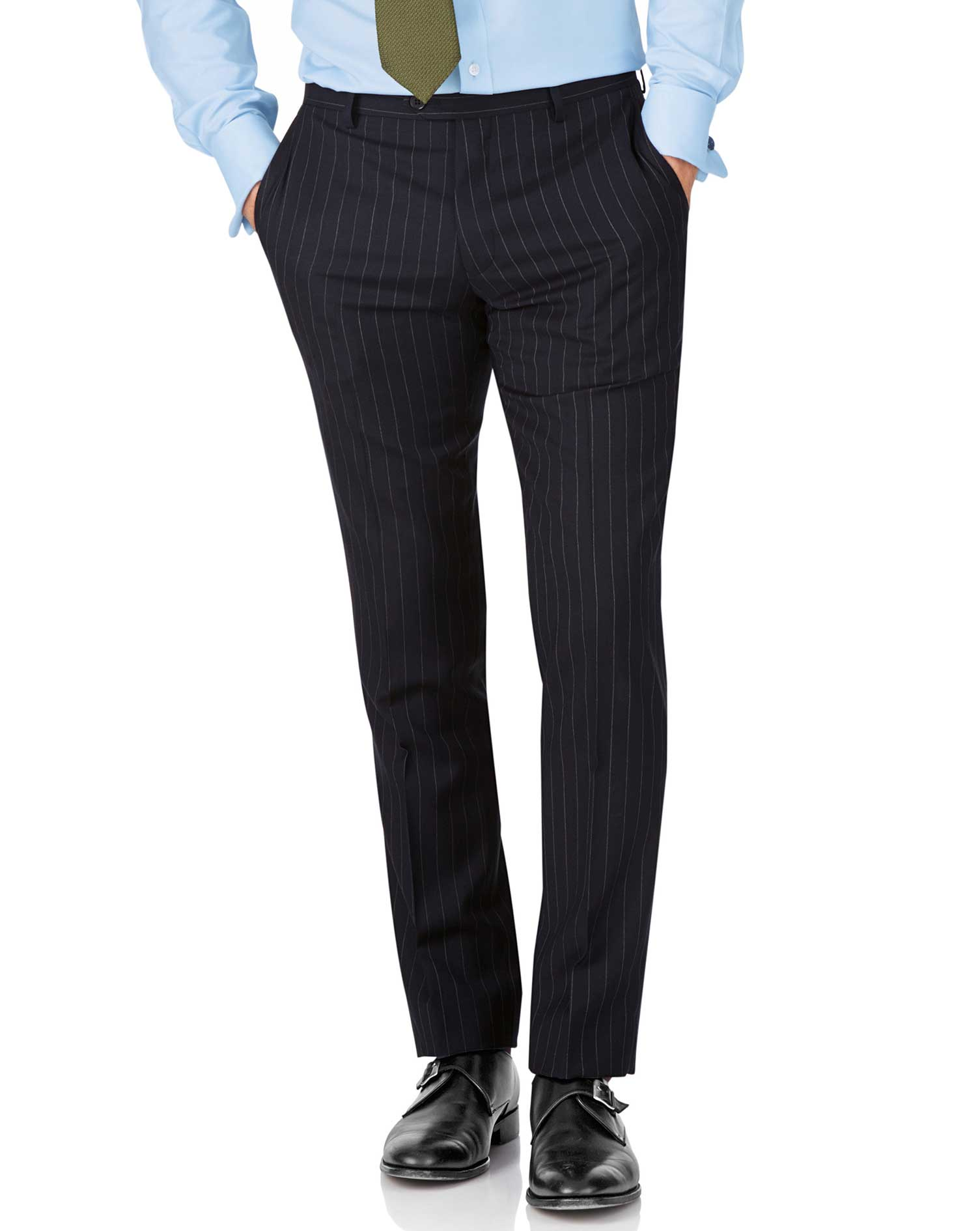 Navy Stripe Slim Fit Twill Business Suit Trousers Size W38 L38 by Charles Tyrwhitt