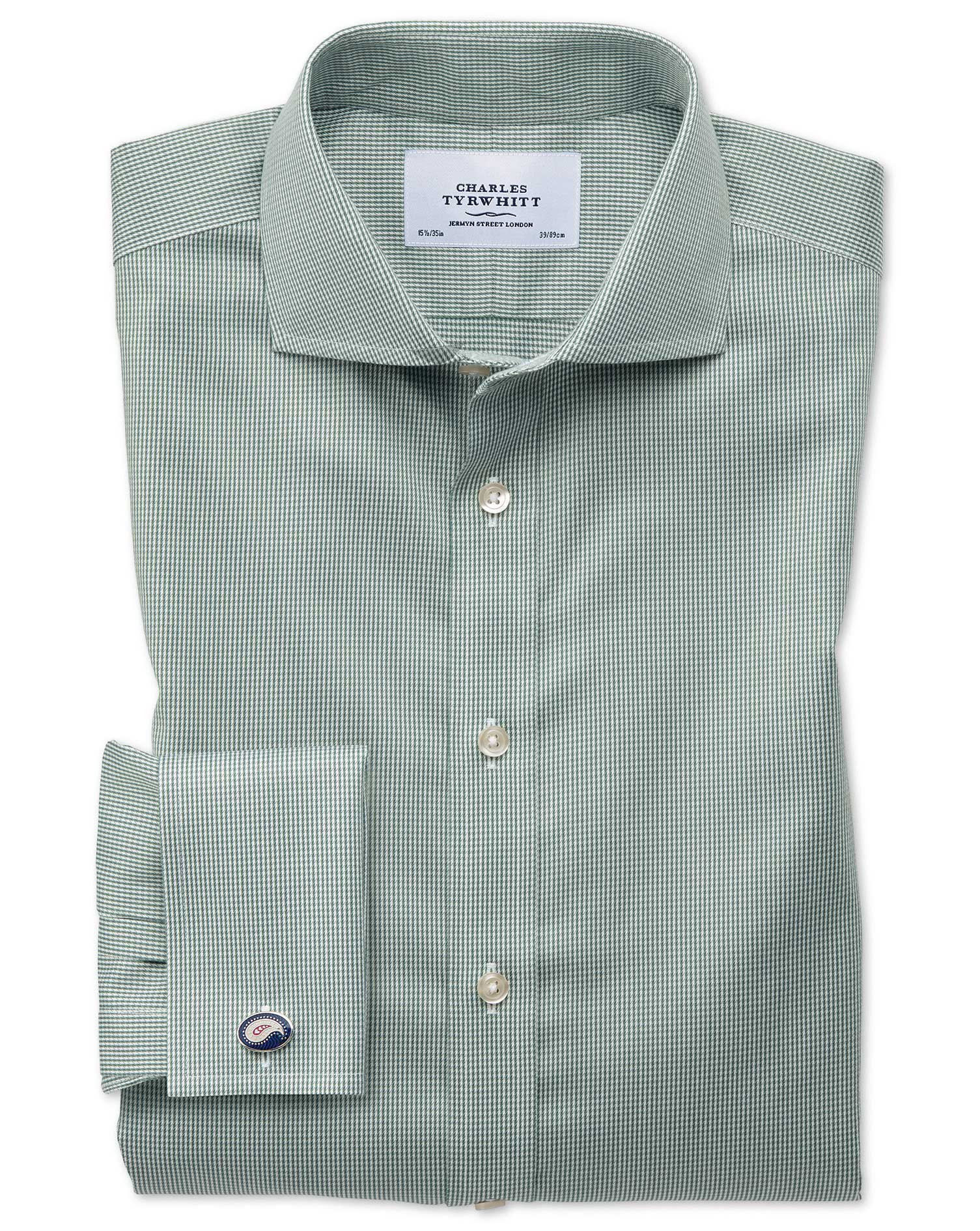 Slim Fit Cutaway Non-Iron Puppytooth Olive Cotton Formal Shirt Single Cuff Size 15/33 by Charles Tyr