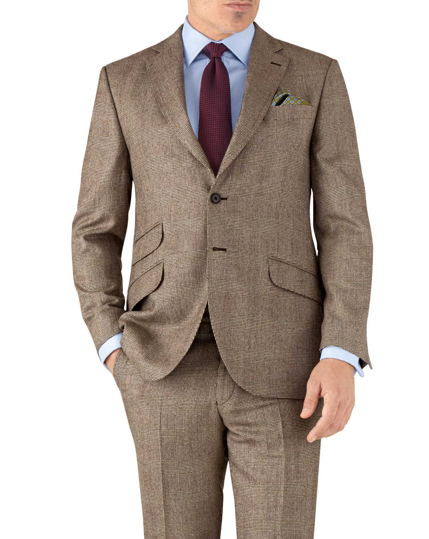 Tan Check Classic Fit British Serge Luxury Suit Wool Jacket Size 38 Long by Charles Tyrwhitt